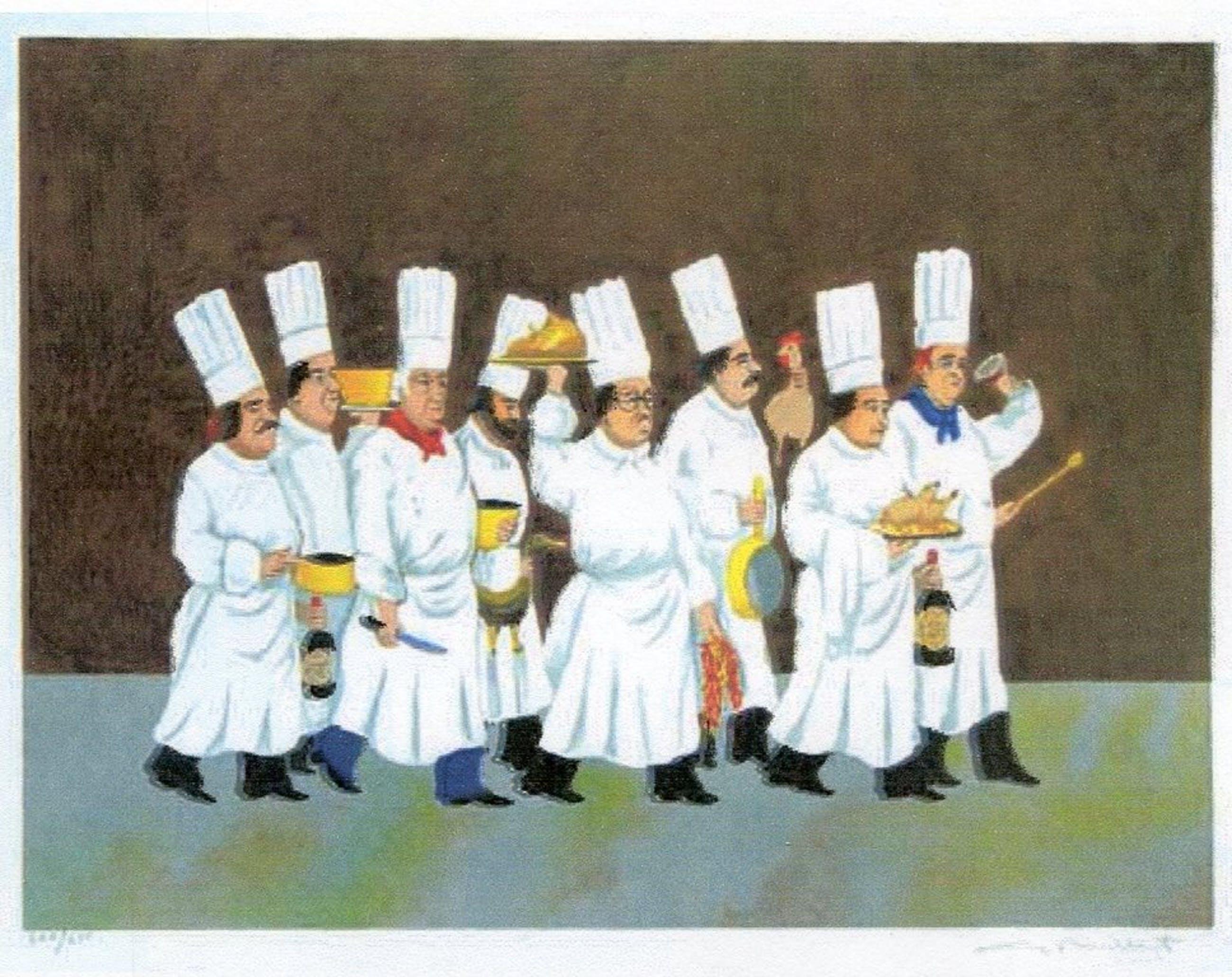 """Guy Buffet omstreeks 1980 """"Parade van de Chefs"""" - Kleurenlitho met een vrolijke kijk op de gastronomie kopen? Bied vanaf 40!"""