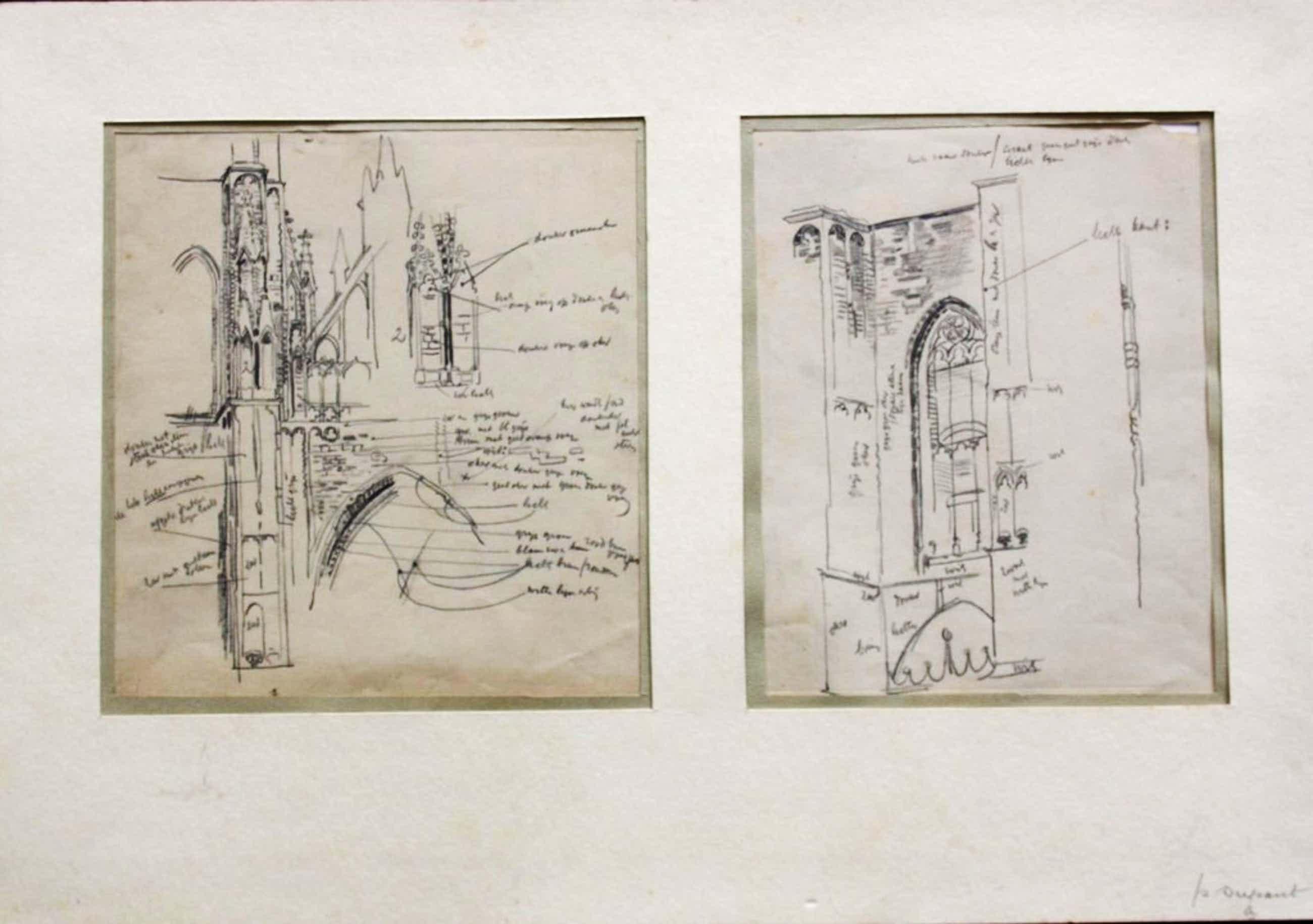 Zeldzaam: twee studietekeningen Pieter Dupont 1904. kopen? Bied vanaf 75!