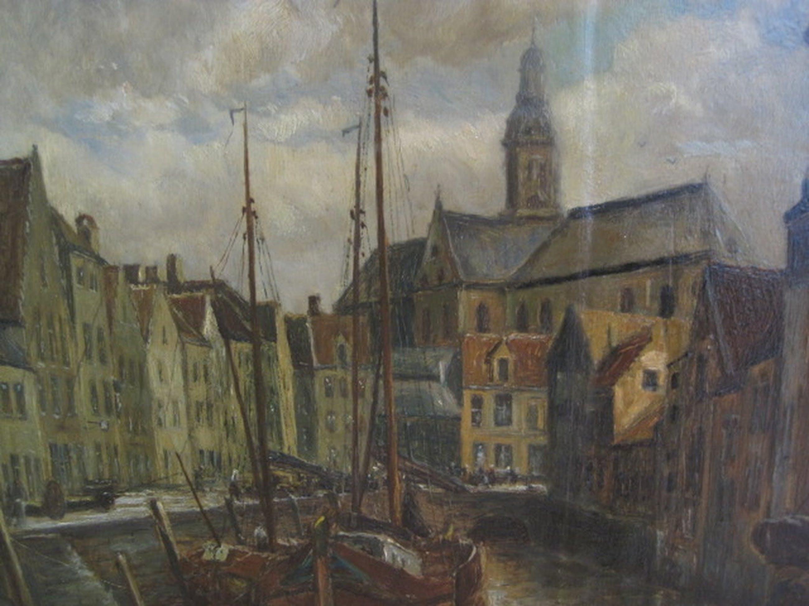 """gesign. Brosens olieverf Antwerpen """"Sint Pietersvliet"""" 1926 kopen? Bied vanaf 1!"""