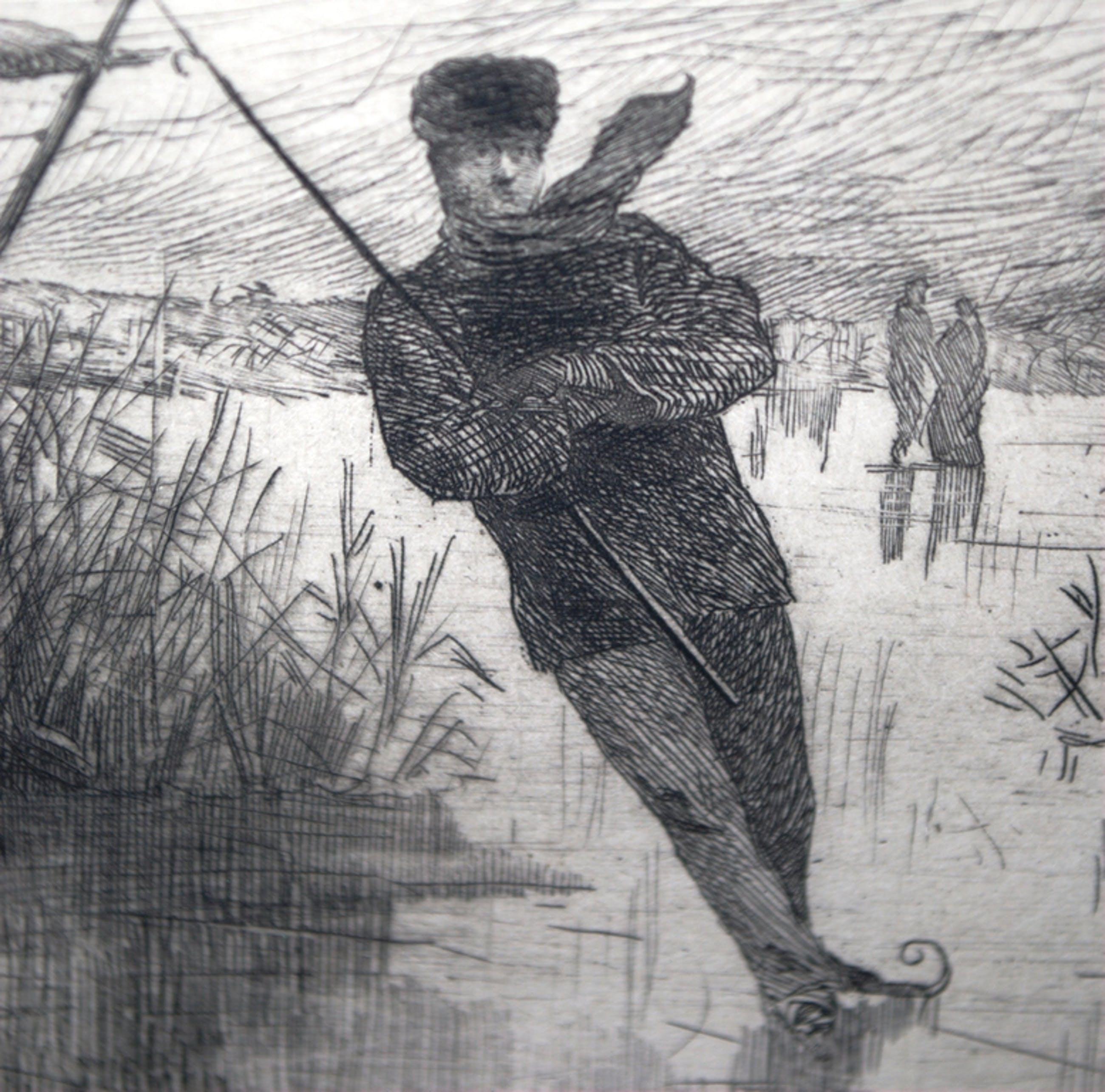 De schaatsenrijder - ets uit 1885 kopen? Bied vanaf 45!