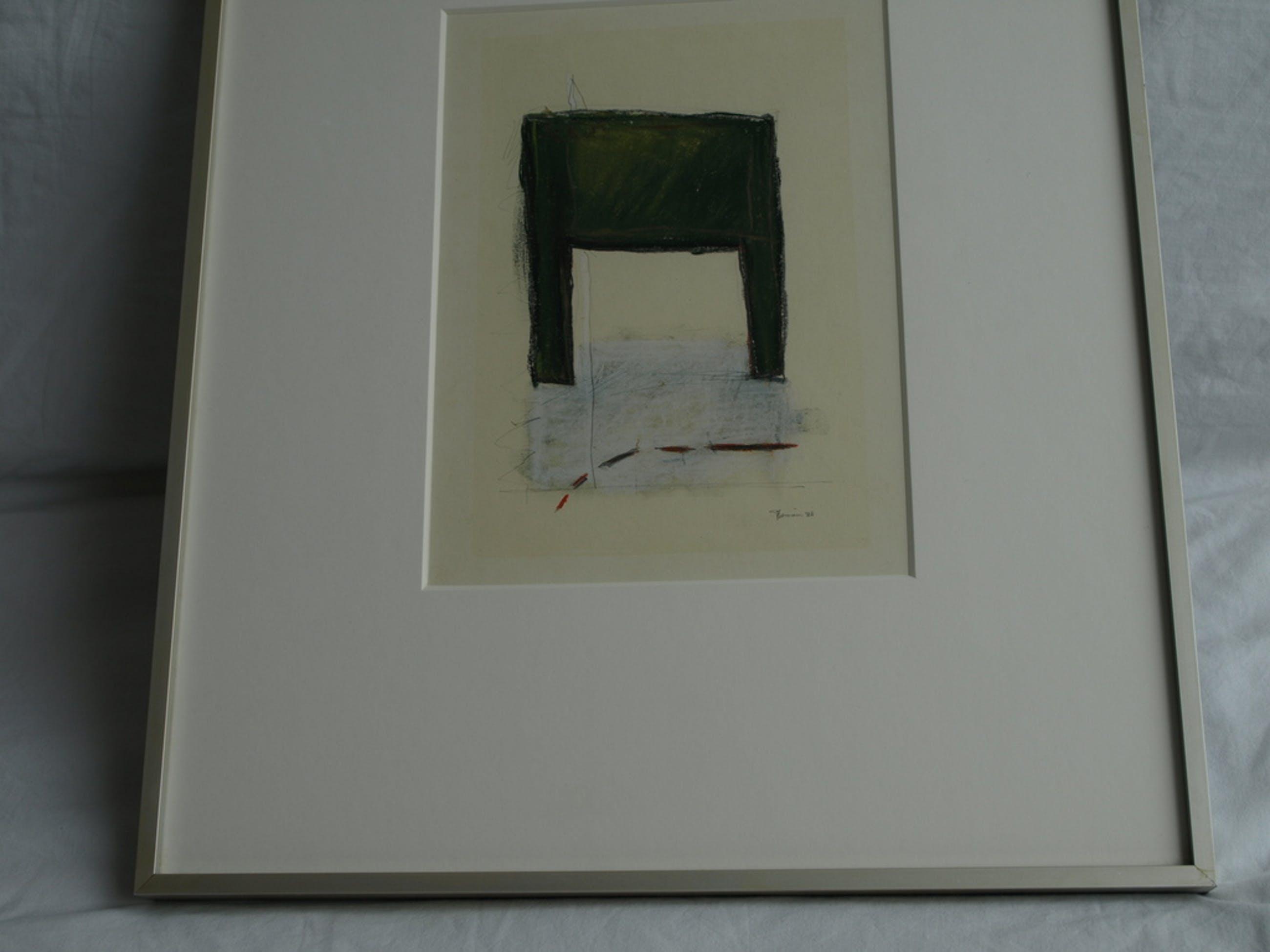Jet Rotmans : Pastelkrijt – Zonder titel – gesigneerd – Ingelijst - 1988 kopen? Bied vanaf 40!
