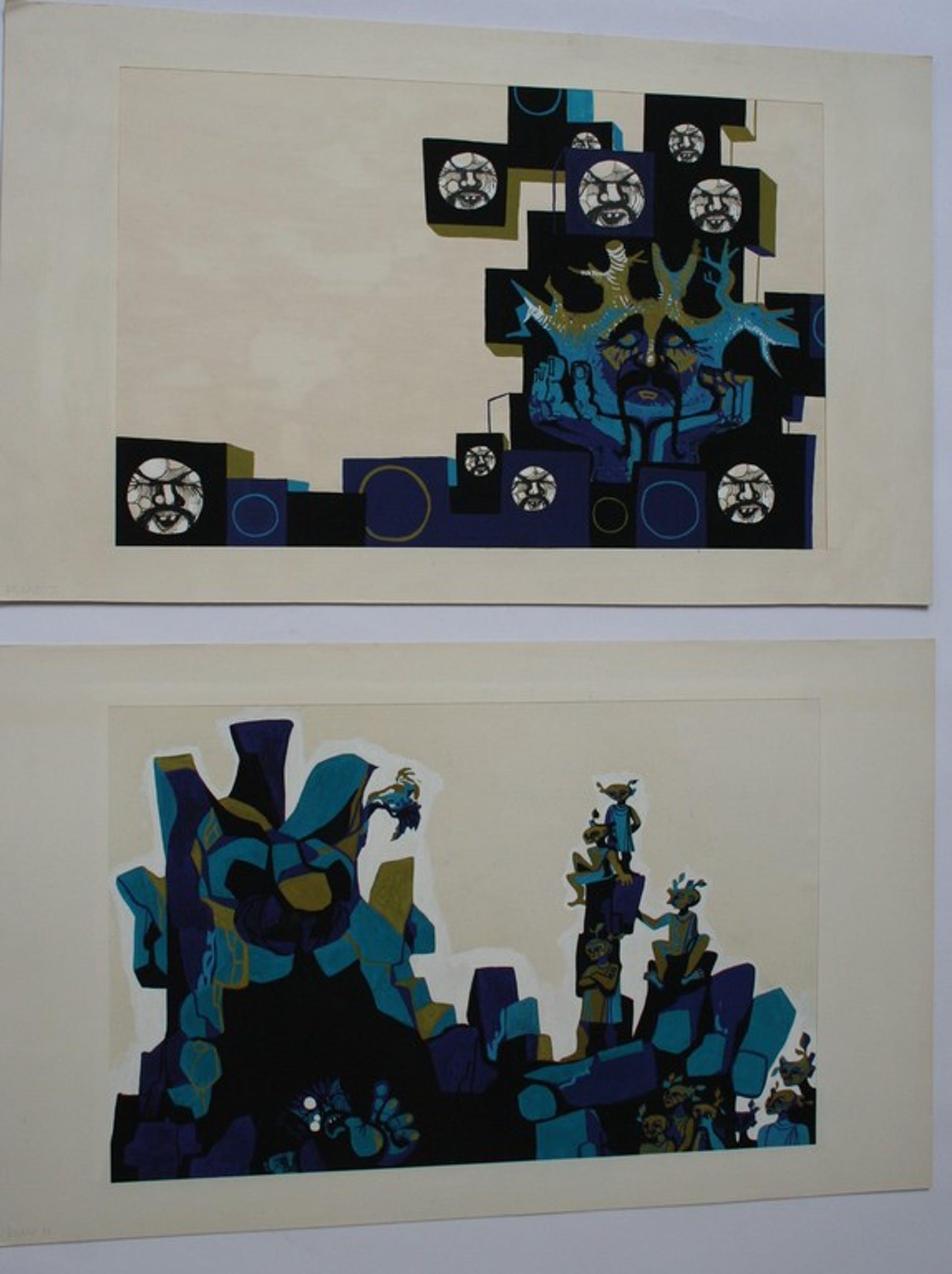 LAATST WEEK! Karel Timmerman (1933) - 2 x Acrylverf op papier - ongesigneerd kopen? Bied vanaf 44!