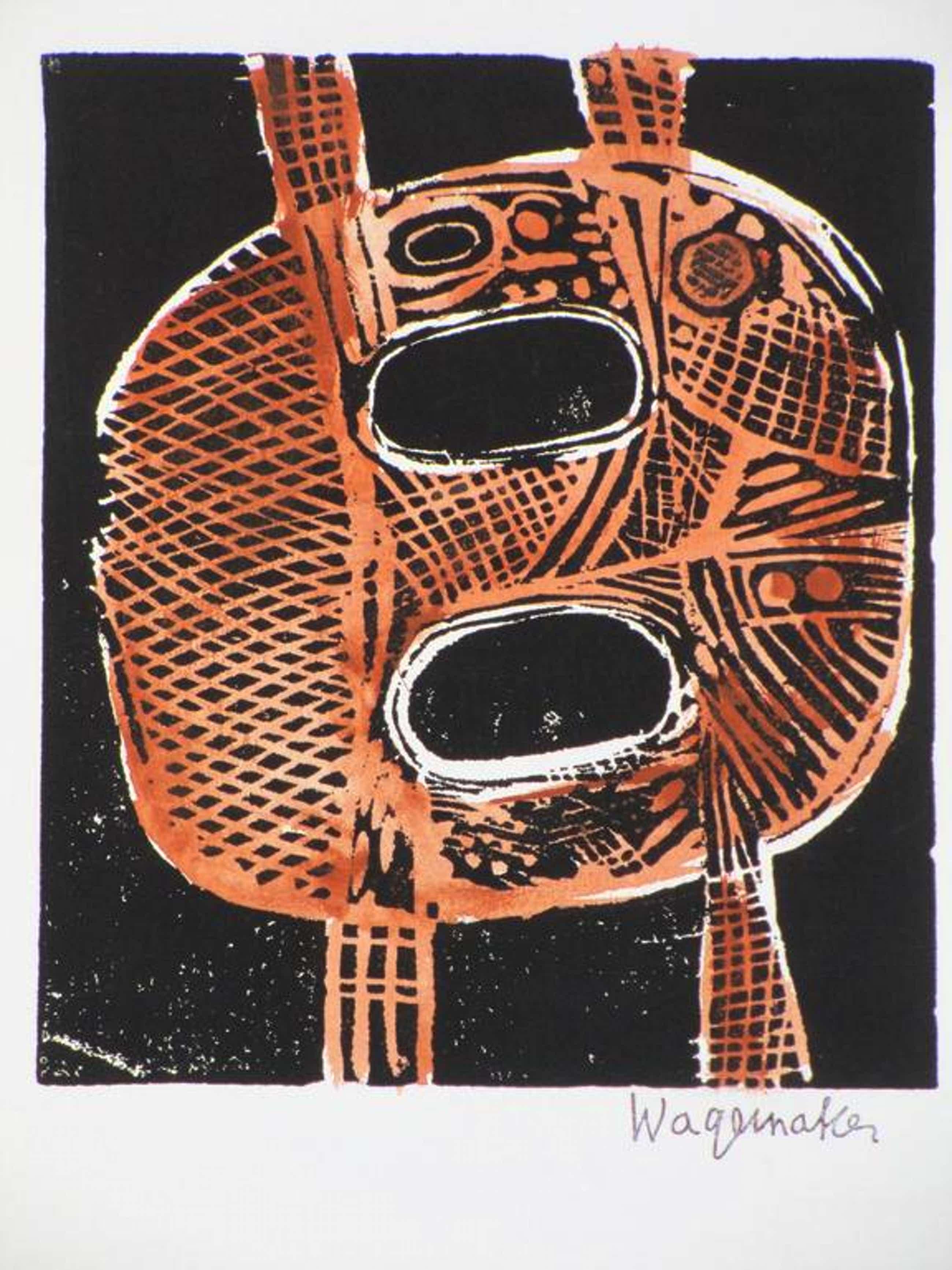 Jaap Wagemaker, Abstracte vorm, Linosnede kopen? Bied vanaf 60!