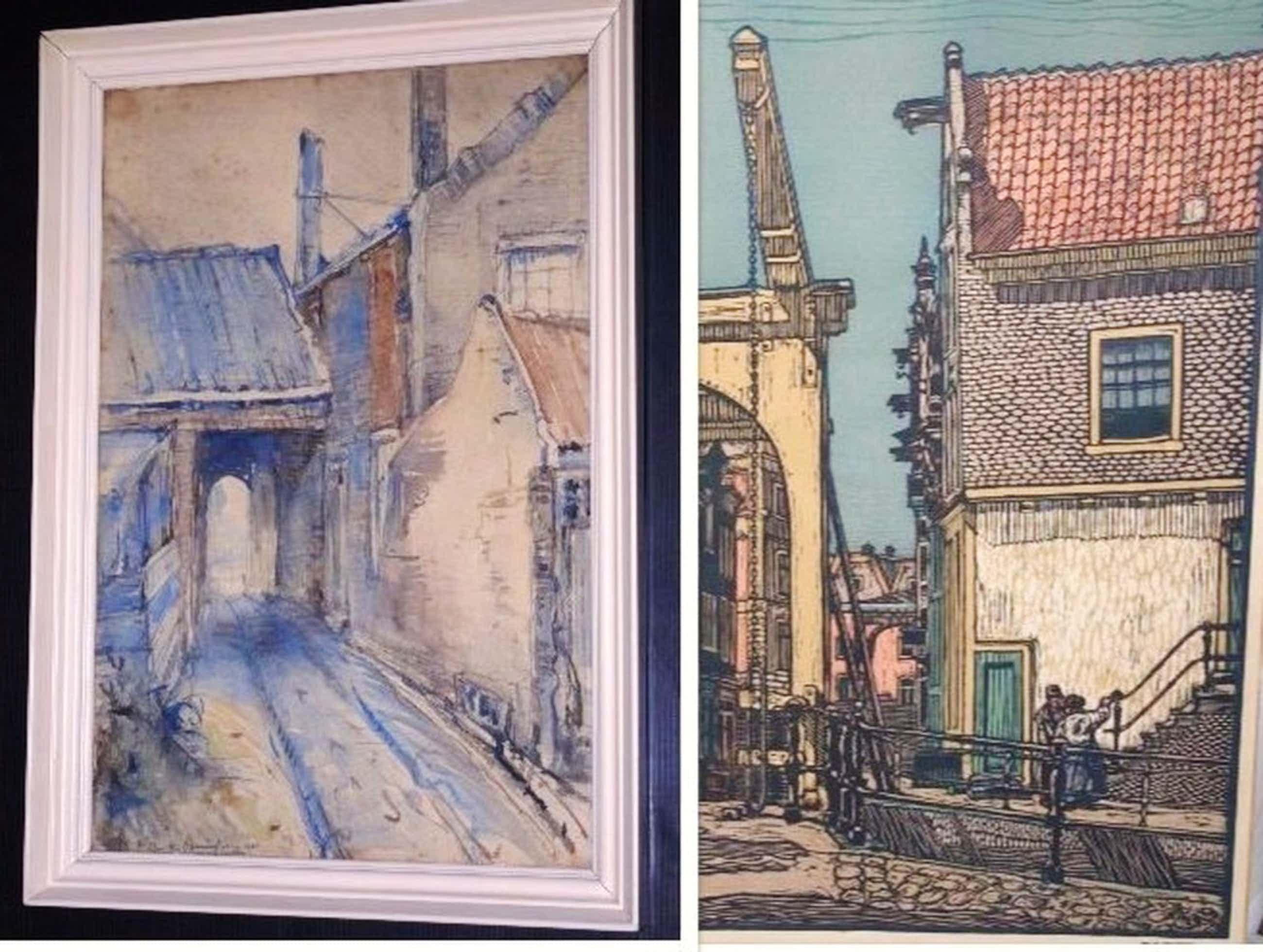 aquarel dorpsstraatje 1901 + houtsnede Staalstraat Amsterdam 1932 kopen? Bied vanaf 40!