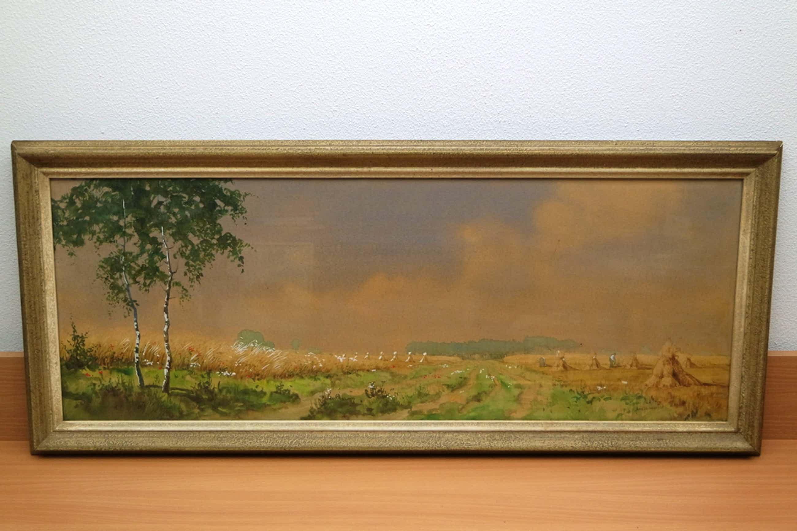 Arie Zonneveld (1905-1941) - aquarel - landschap met korenschoven en figuren kopen? Bied vanaf 155!
