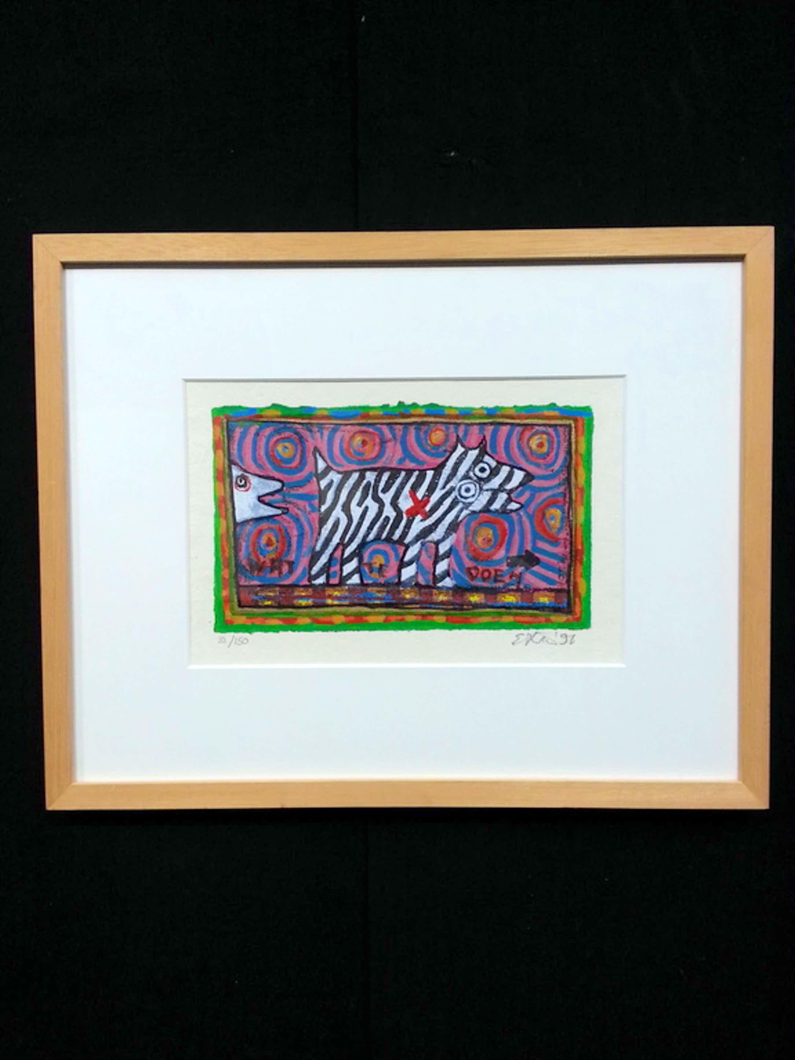 Eric Toebosch, zeefdruk op papier in houten lijst, titel:  kopen? Bied vanaf 40!