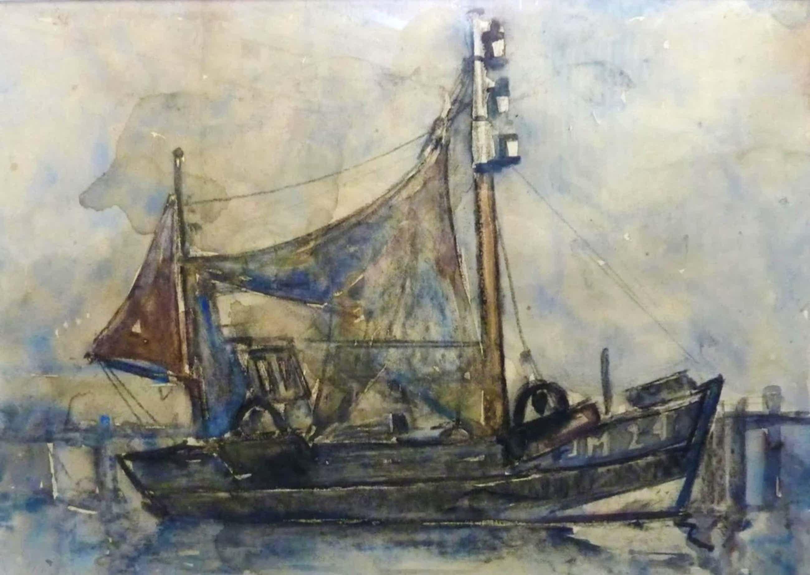 FRANS VERPOORTEN aquarel vissersboot IJM 24 kopen? Bied vanaf 35!