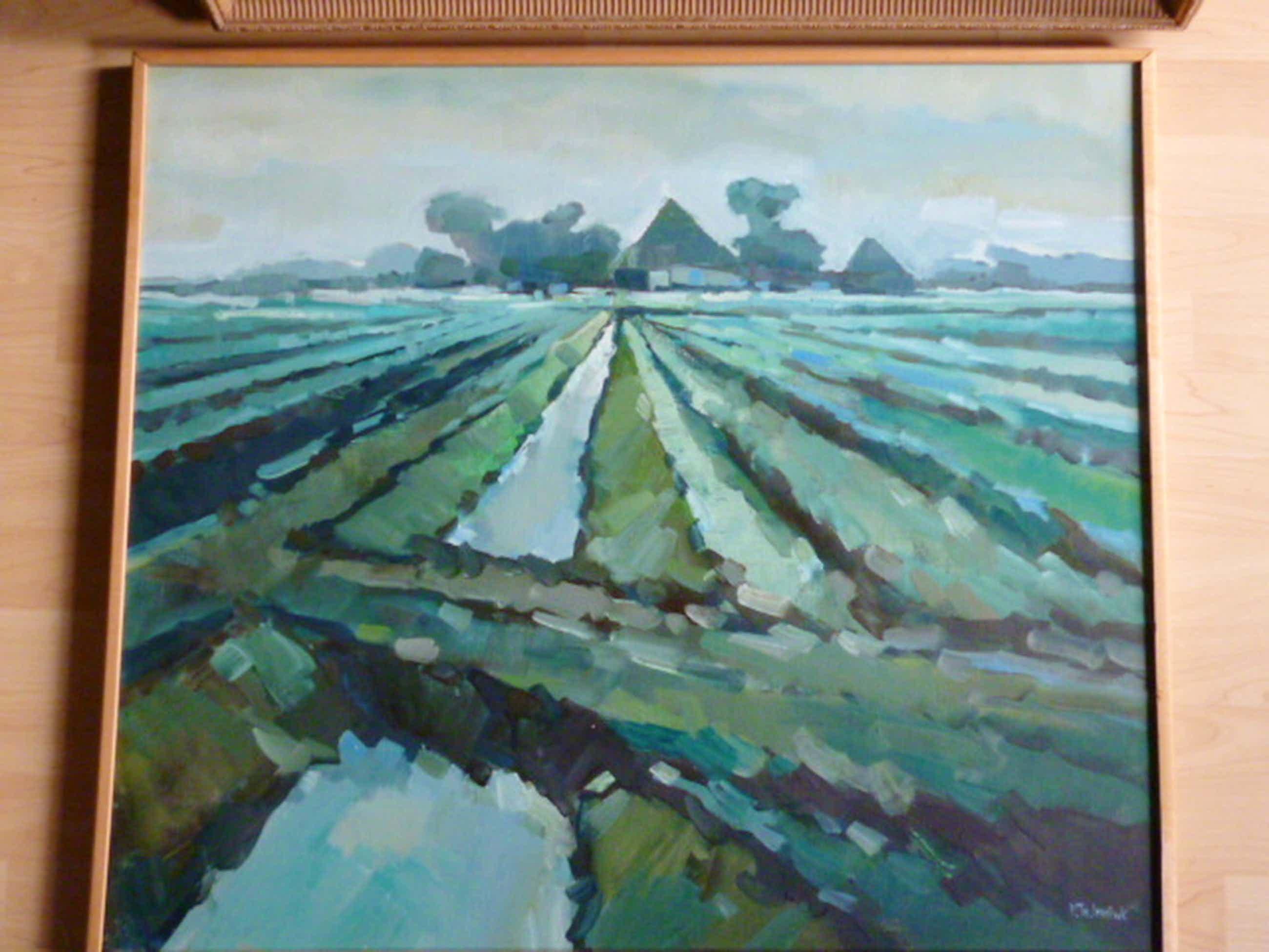 Bob Immink - olieverf - Noordhollands landschap met stolpboerderijen kopen? Bied vanaf 225!