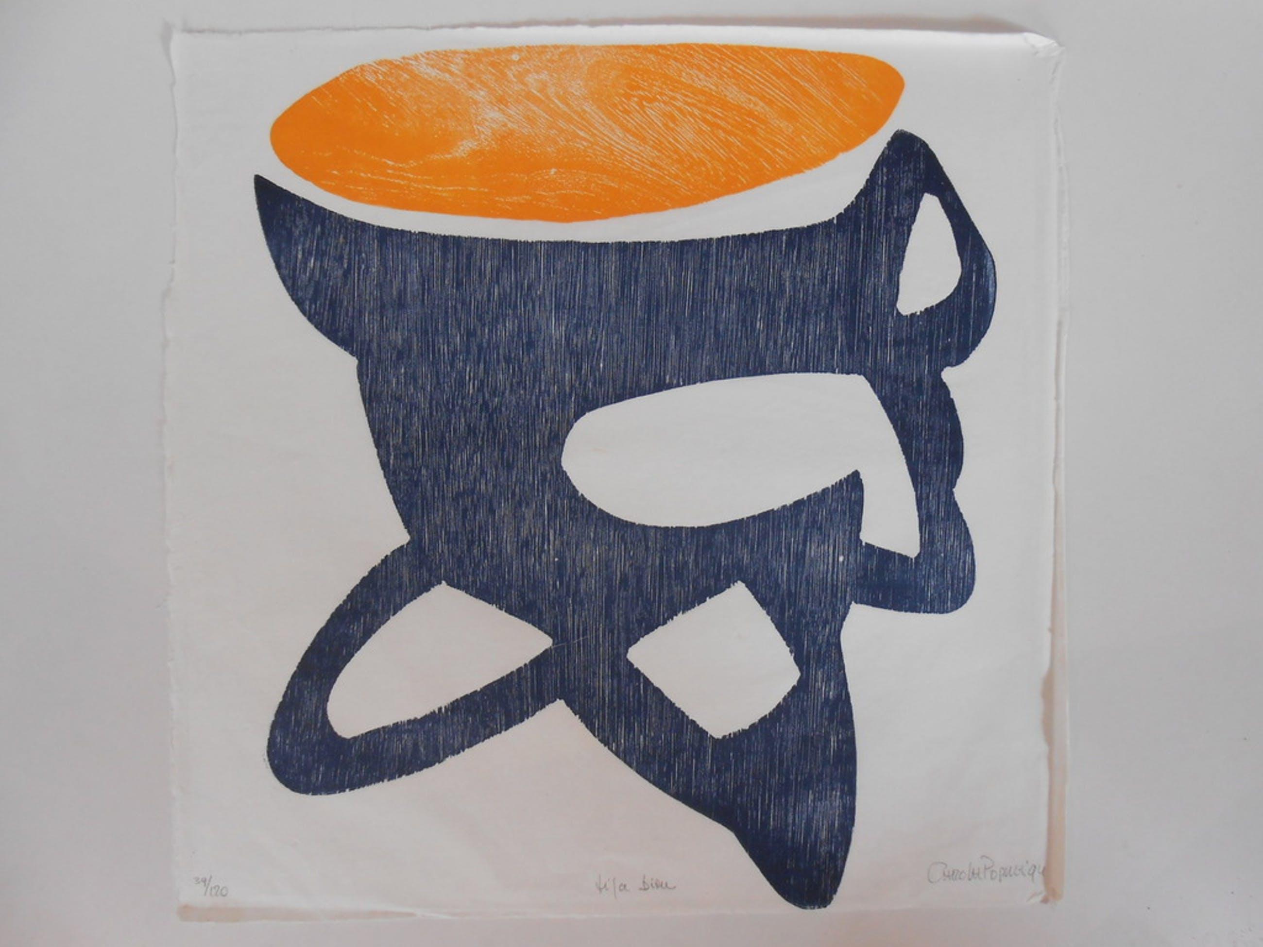 """Carola Popma, """"Tifa Biru"""", houtdruk op rijstpapier ihkv Mondriaanjaar 1994 kopen? Bied vanaf 25!"""
