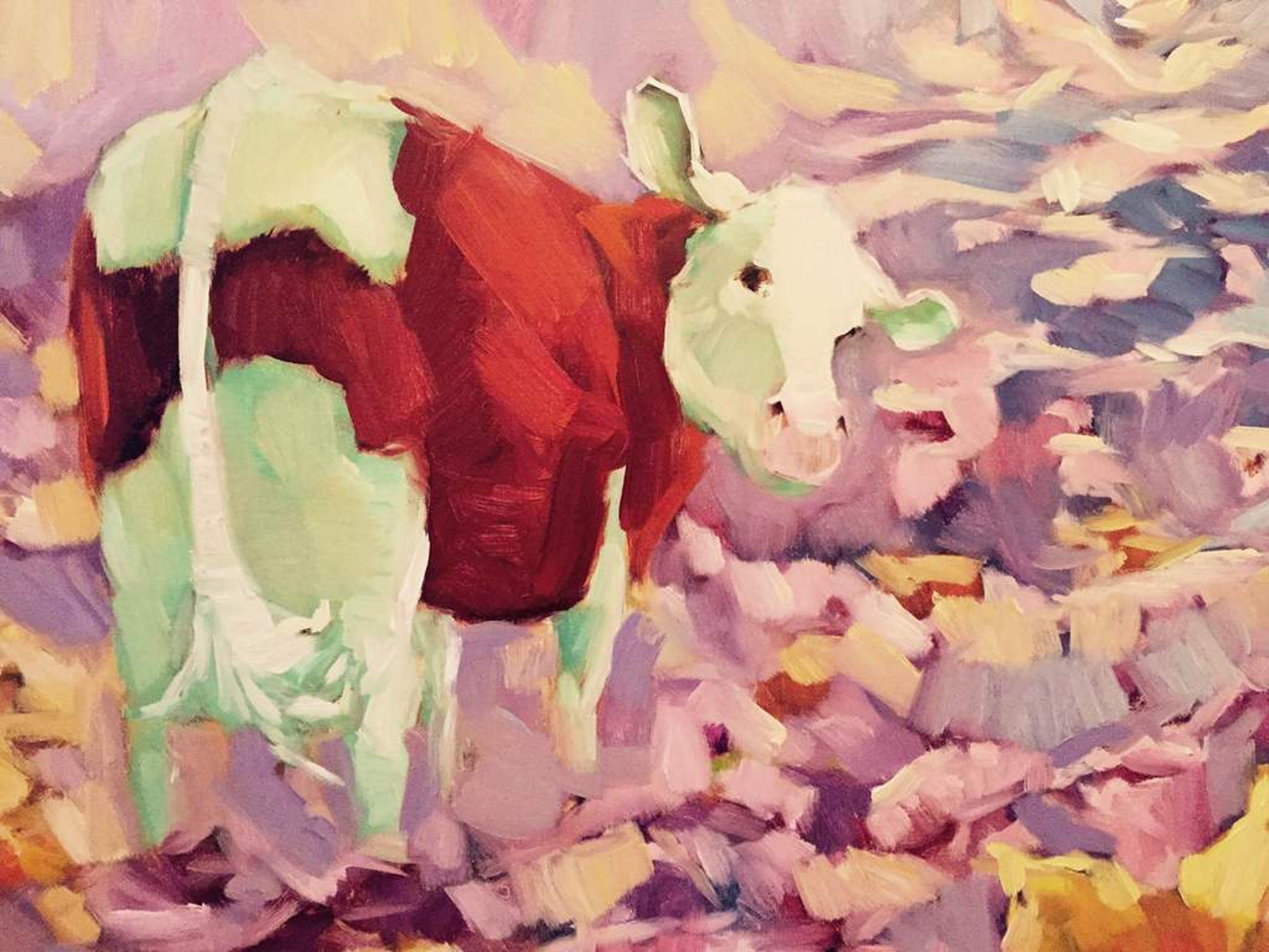 Koe in bloemenweide  120 x 100 cm kopen? Bied vanaf 750!