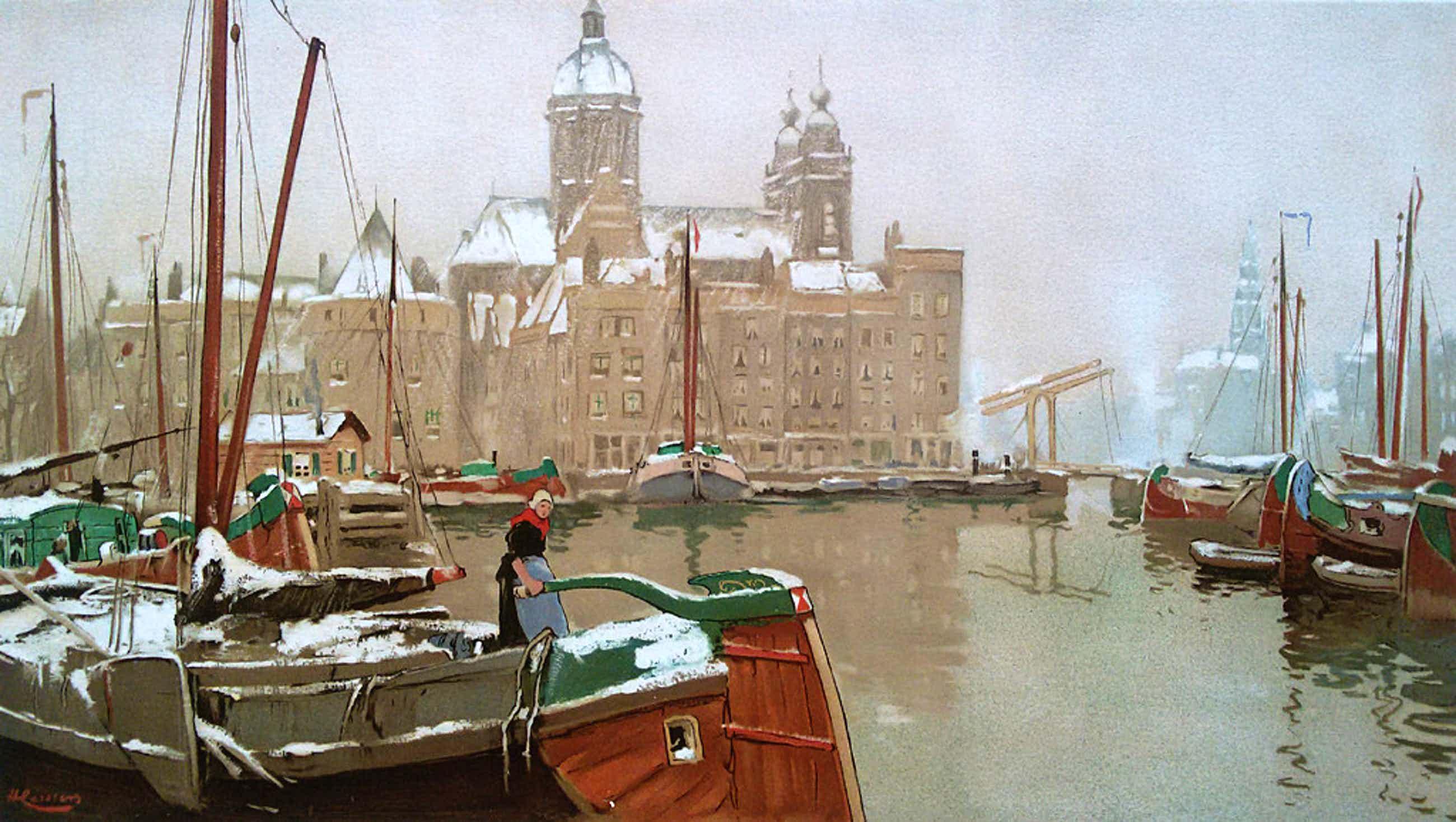 Henri Cassiers - Amsterdam in de winter, chromolithografie kopen? Bied vanaf 75!