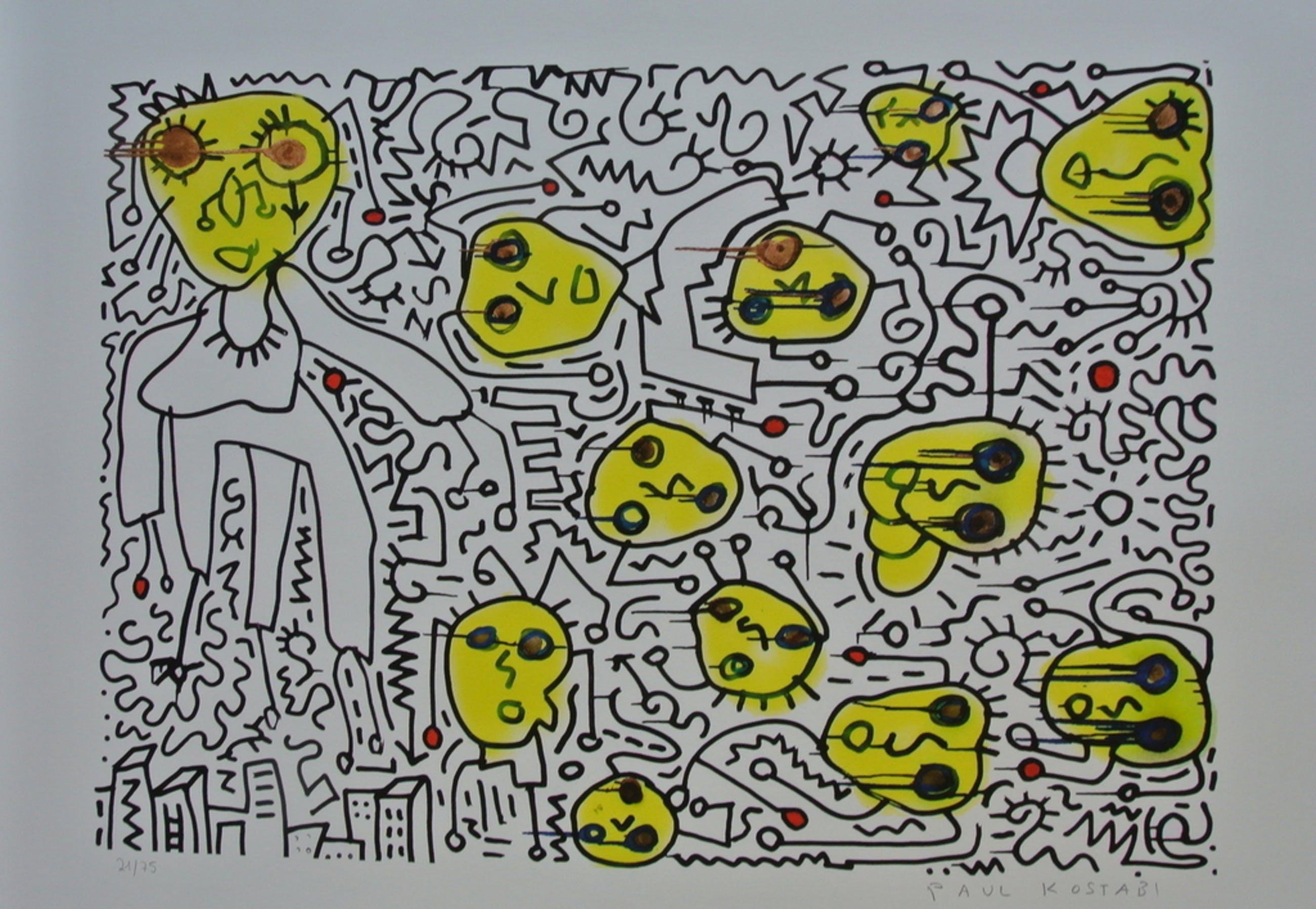 Paul Kostabi. -Counting Backwards- Giclee 2013. Handgesigneerd/genummerd.  kopen? Bied vanaf 79!