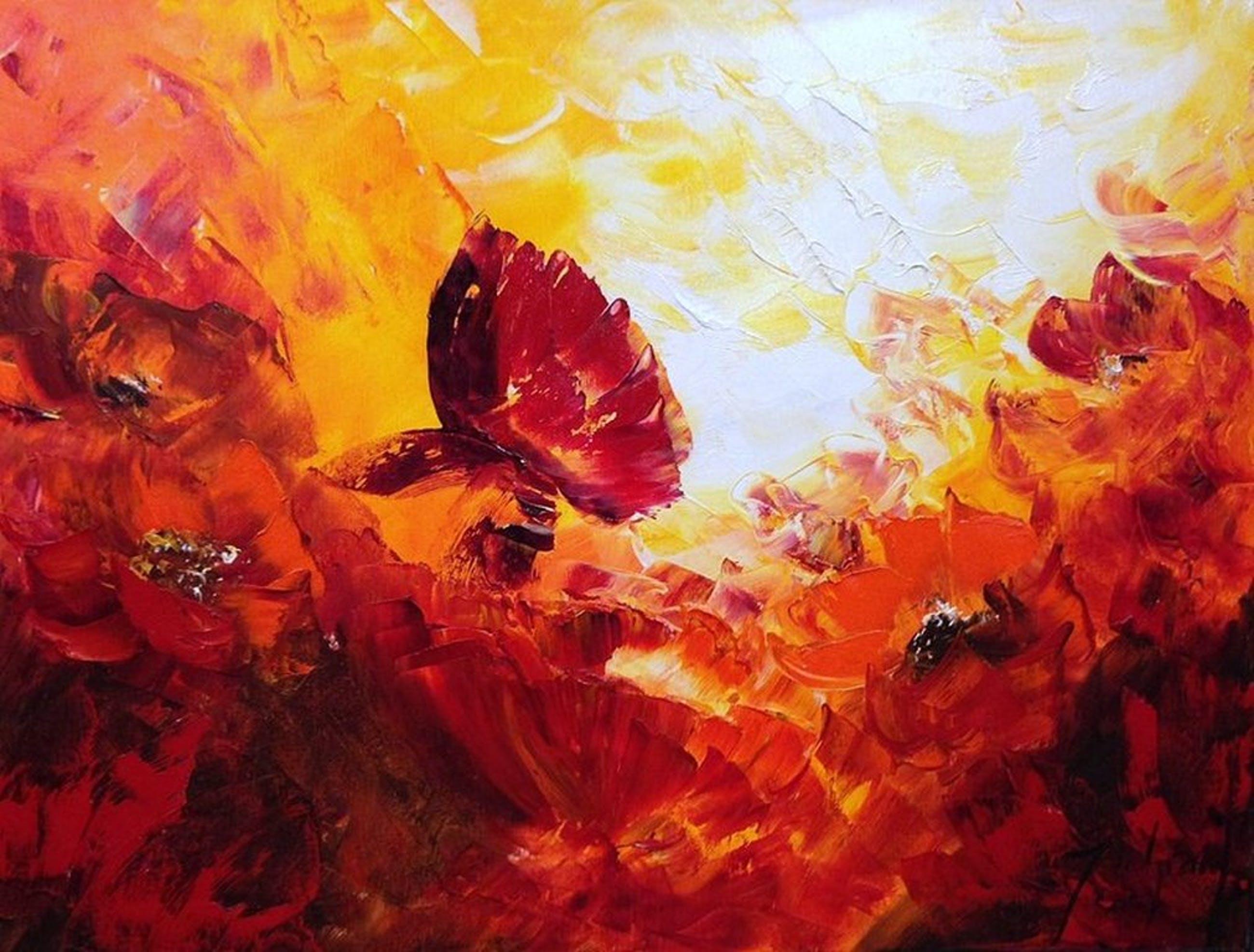 Jochem de Graaf: orgineel schilderij (olieverf) Klaprozen 80x60 cm  kopen? Bied vanaf 50!