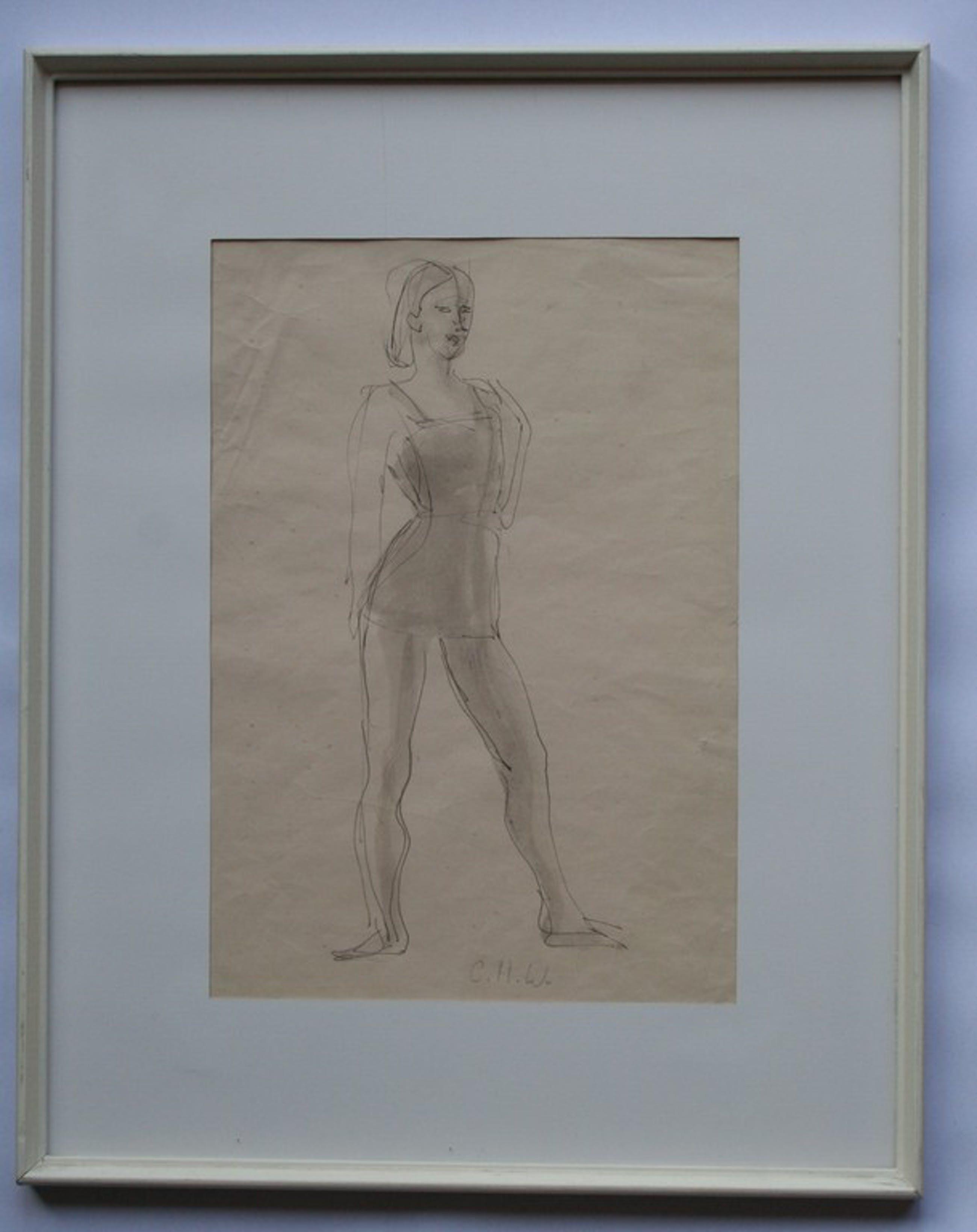 LAAGSTE PRIJS! Constance Wibaut - Inkt en aquarel - danseres - met monogram kopen? Bied vanaf 15!