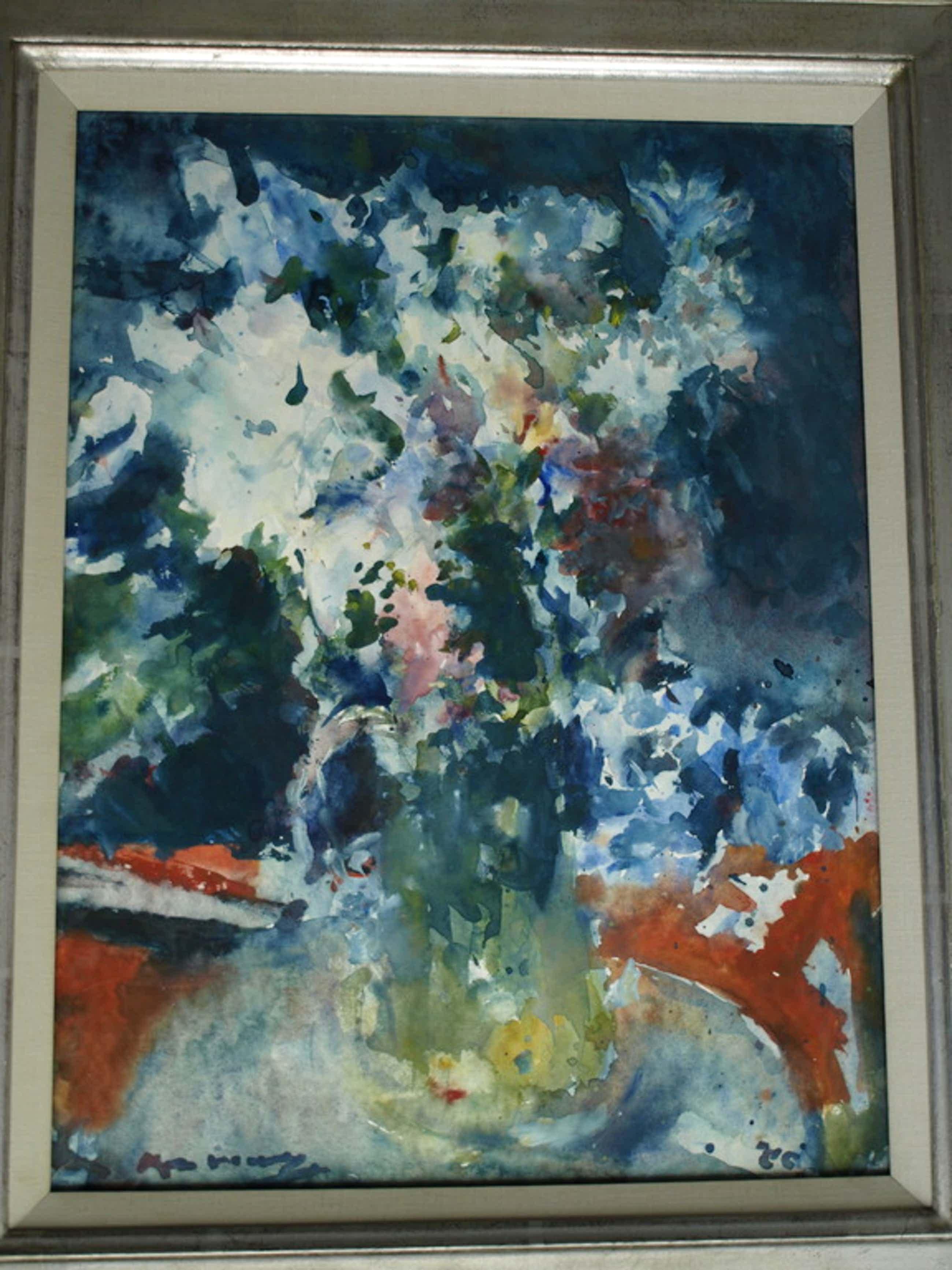 Kees Verwey : Aquarel , Bloemen in gele kan - gesigneerd & ingelijst – 1980 kopen? Bied vanaf 1000!
