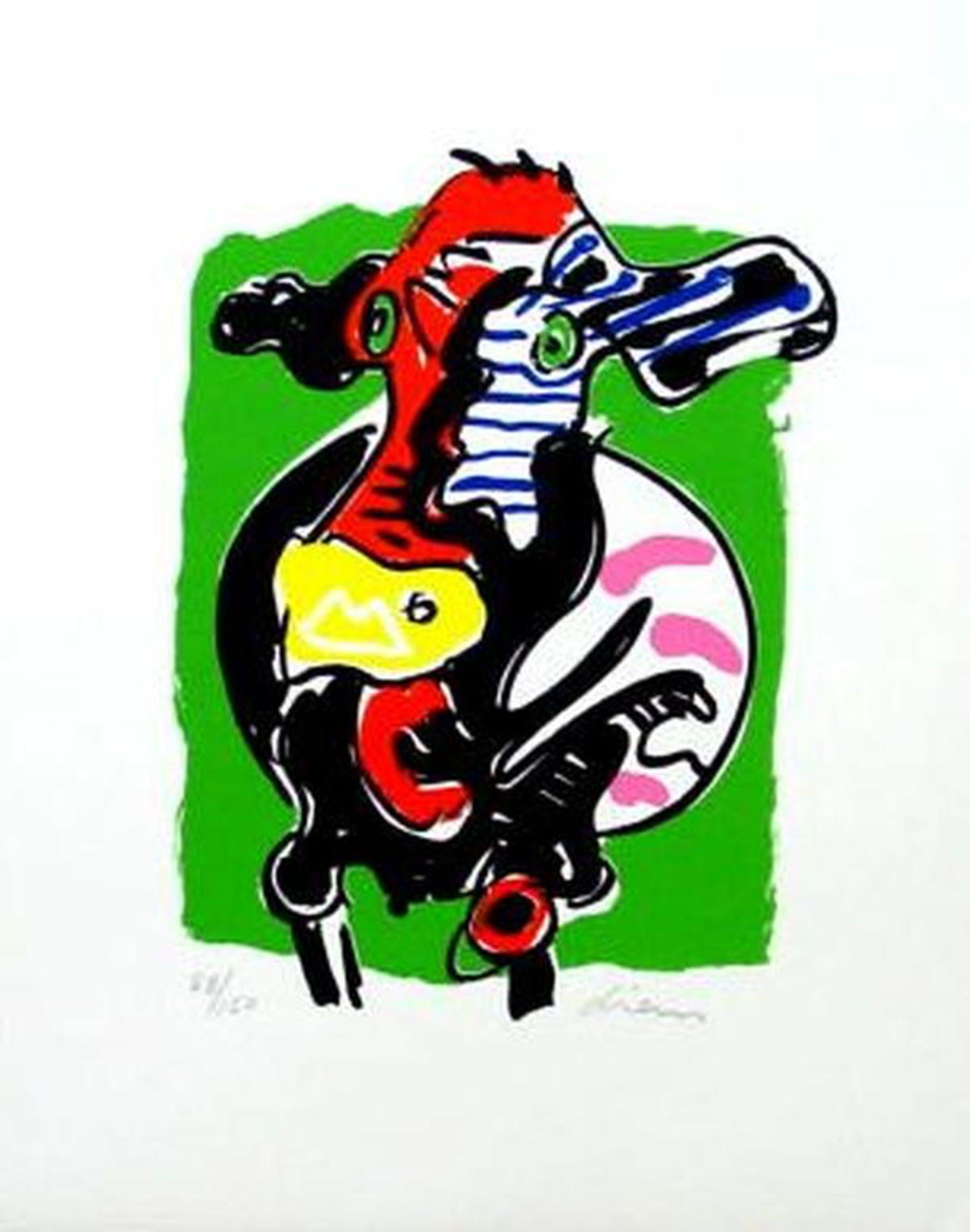 PETER DIEM, grote handgesigneerde en gelimiteerde zeefdruk 'Designers Cow Green' kopen? Bied vanaf 1!