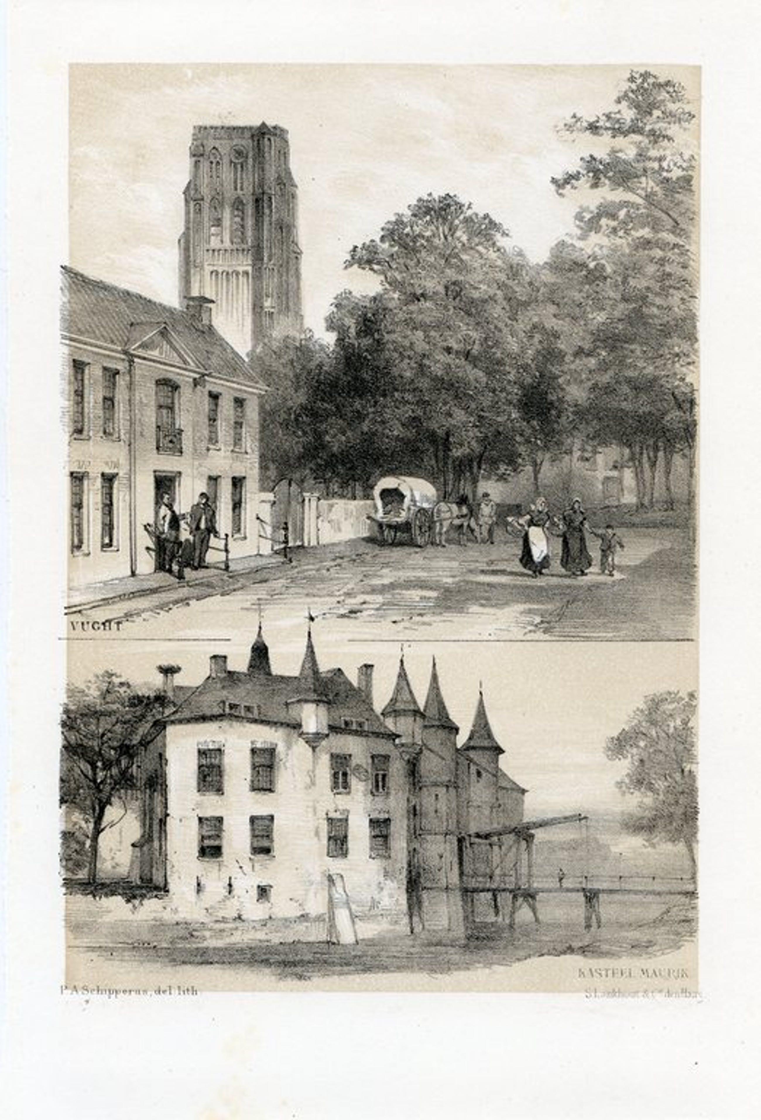"""P.A. Schipperus 1882 """"Gezicht te Vught en Kasteel Maurik - Maurick"""" - Litho kopen? Bied vanaf 30!"""