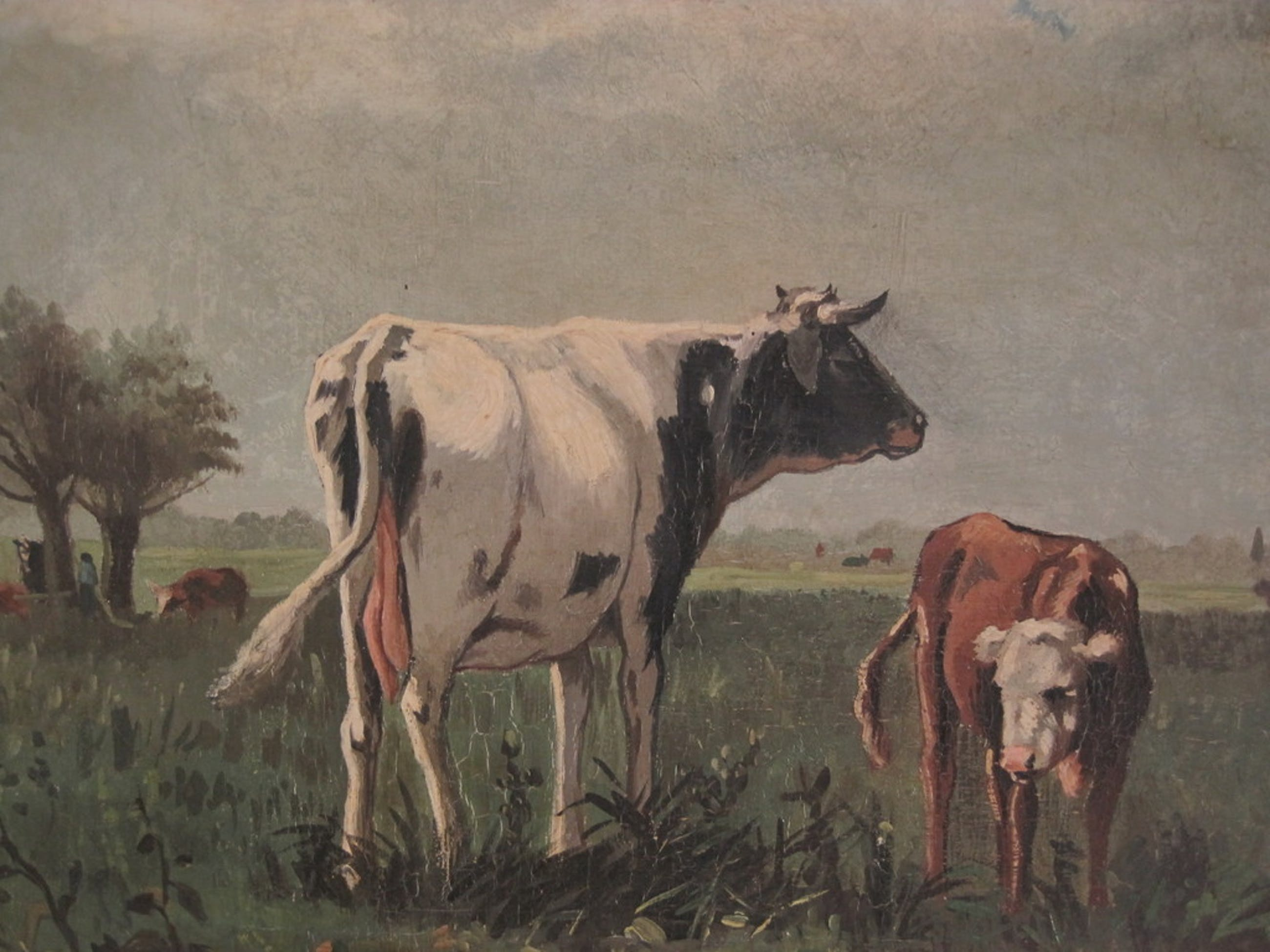 "Willem F Hulk 1852-1906 olieverf ""Koeien in polderlandschap"" omstreeks 1880 kopen? Bied vanaf 1!"