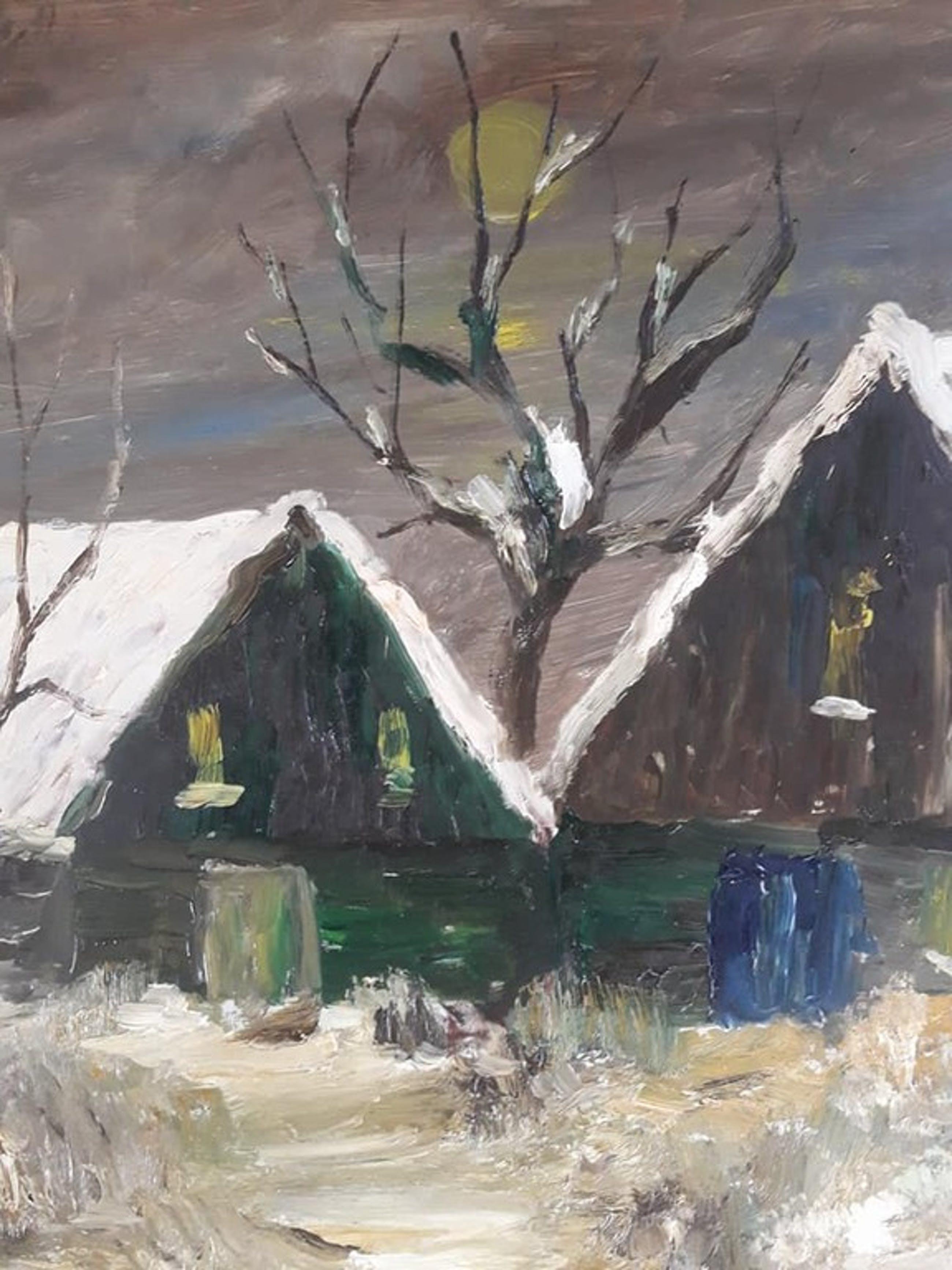 Wim Theewis - Wim Theewis, (1923 - 1988) - Boerderijen met besneeuwde daken. kopen? Bied vanaf 1!
