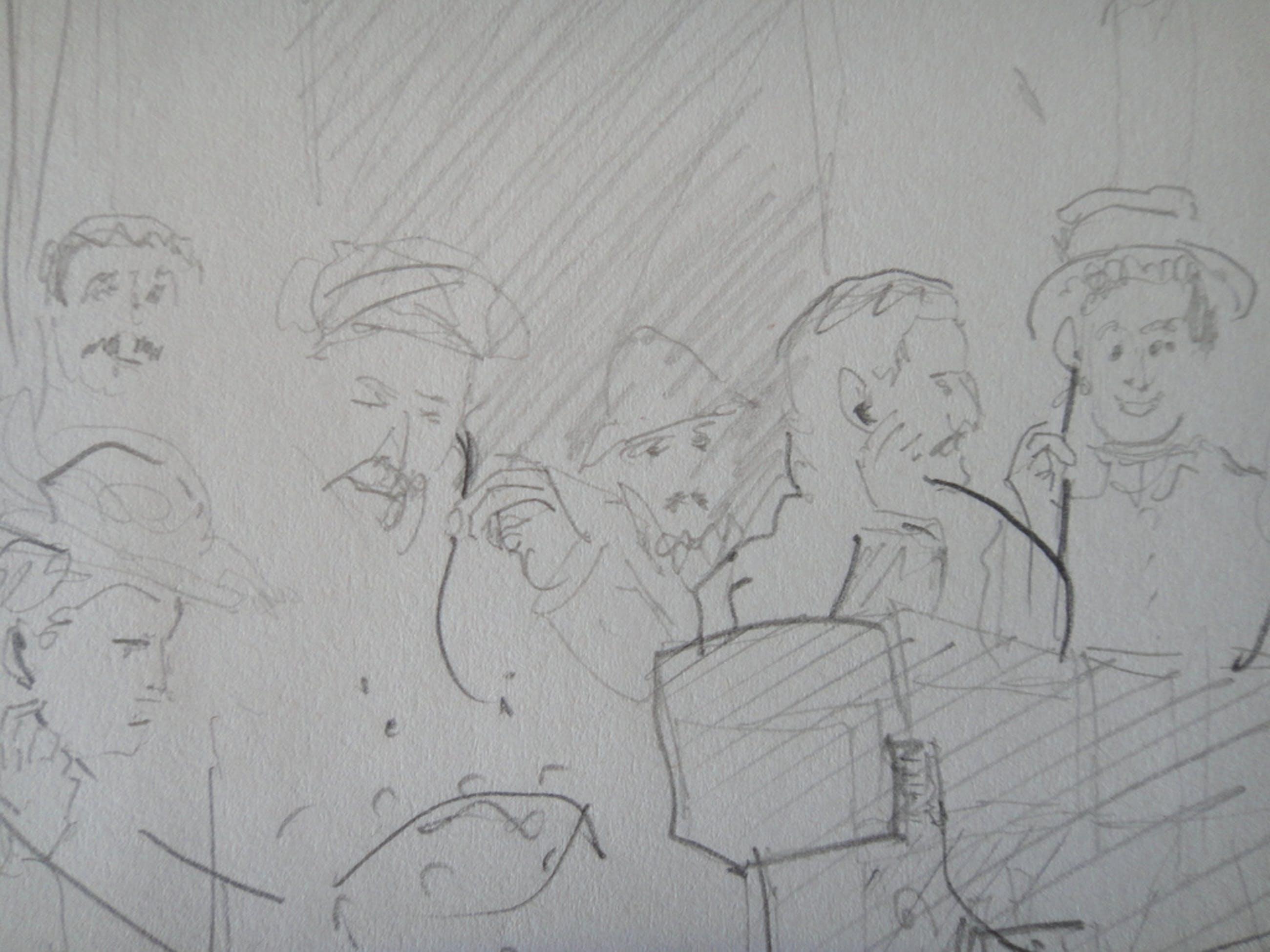Jan Prins (1956) - tekening - luisterend gezelschap in het buitenland kopen? Bied vanaf 1!