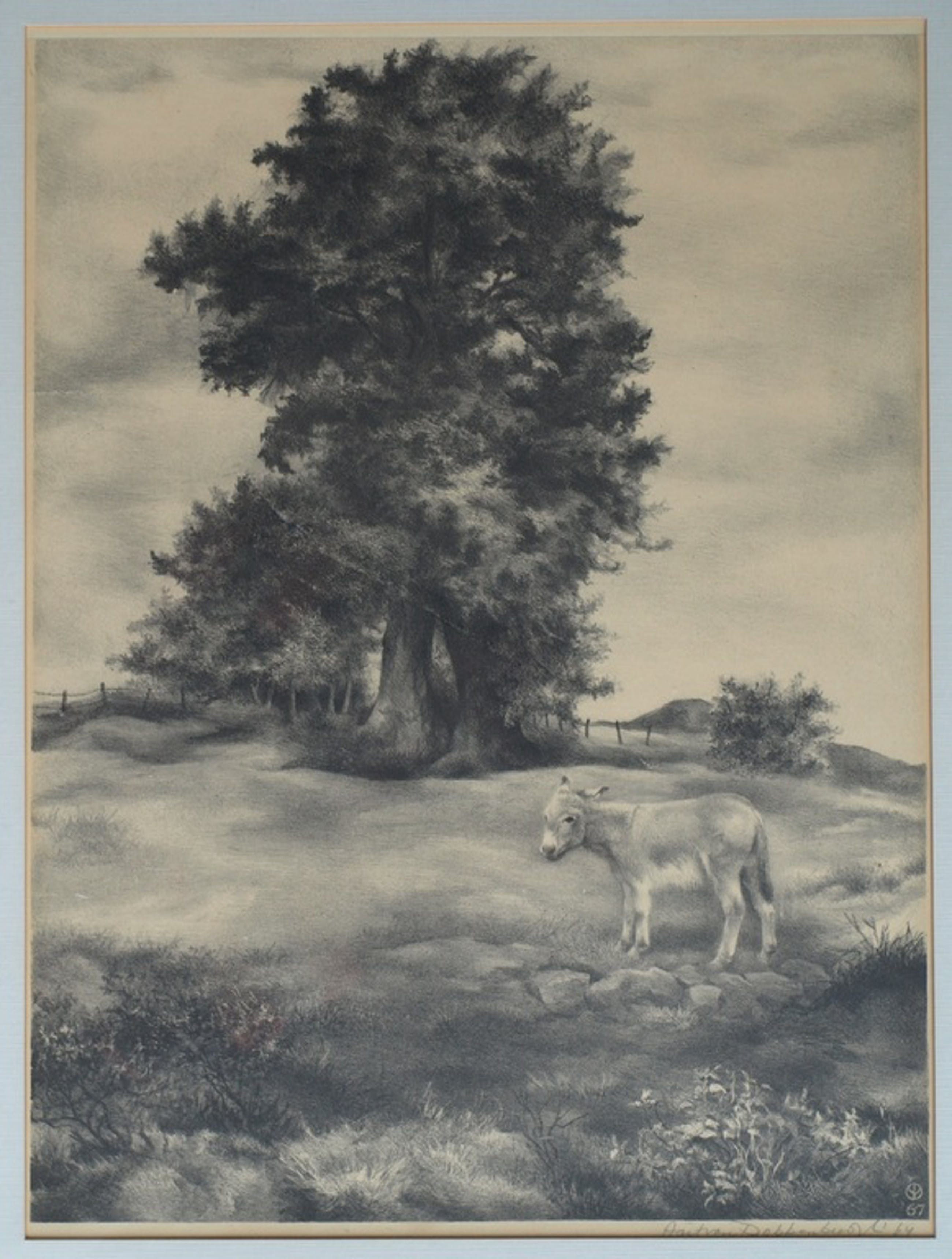 Aart van Dobbenburgh : Litho , Ezel – gesigneerd & ingelijst - 1967 kopen? Bied vanaf 1!