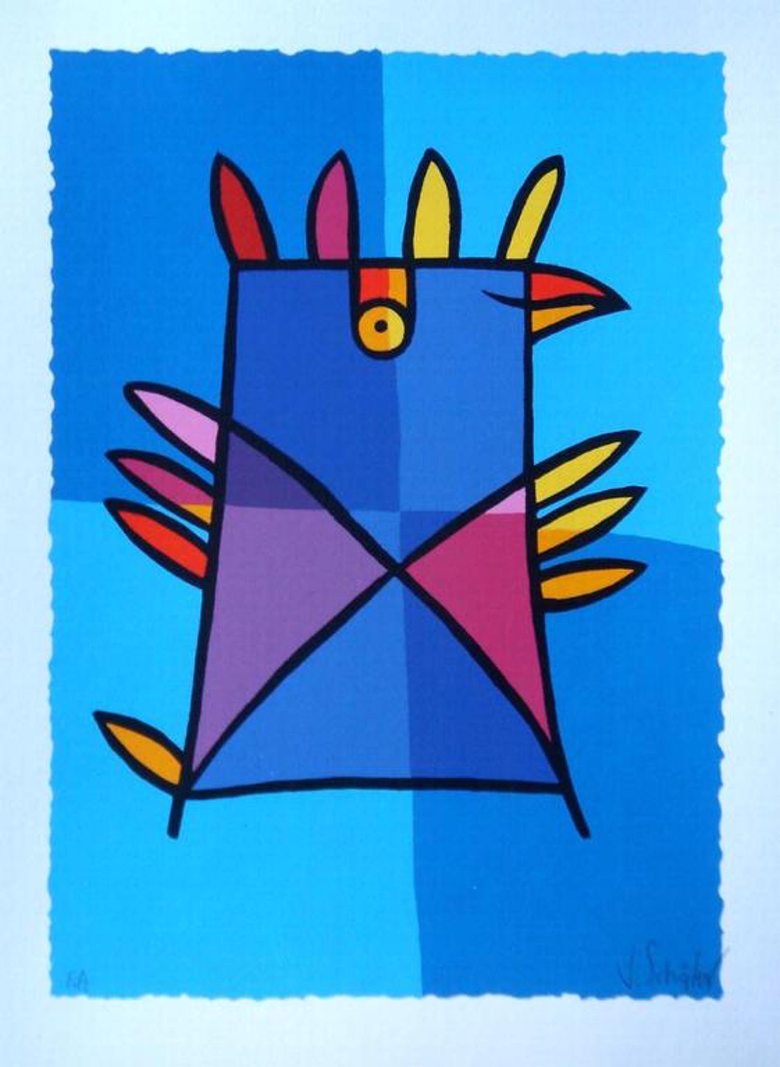 JACQUELINE SCHÄFER, originele handgesign. zeefdruk 'Blauwe vogel' kopen? Bied vanaf 1!