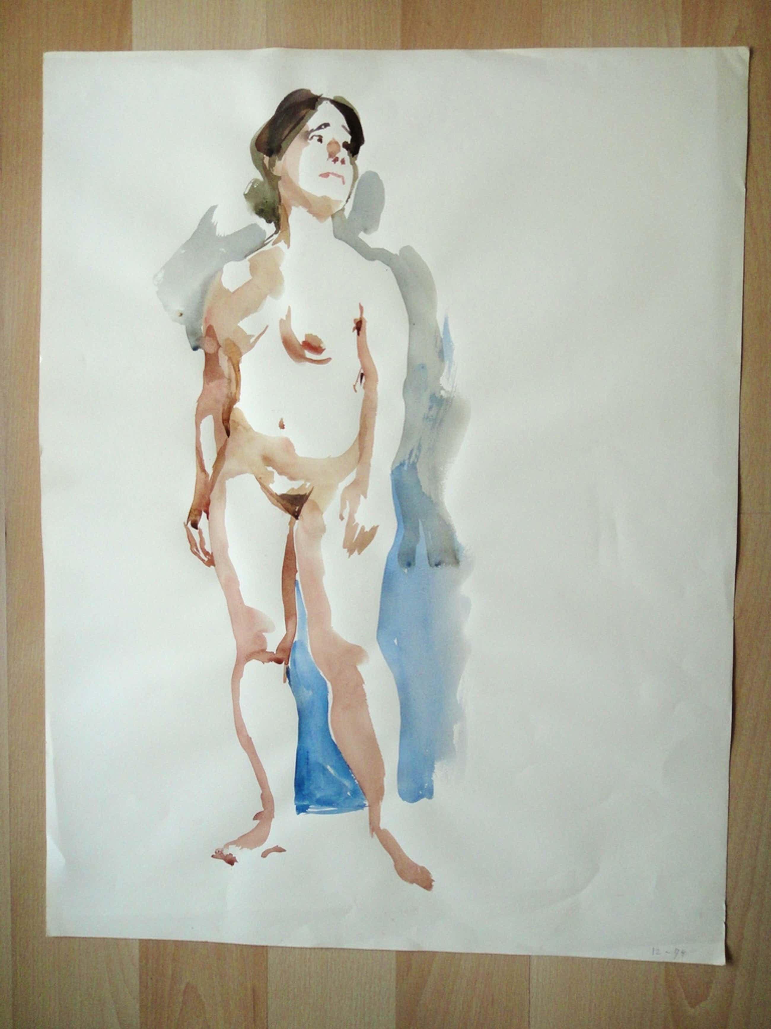 Flip Hamers, aquarel 3x, waaronder 2x portret naakte vrouw kopen? Bied vanaf 35!