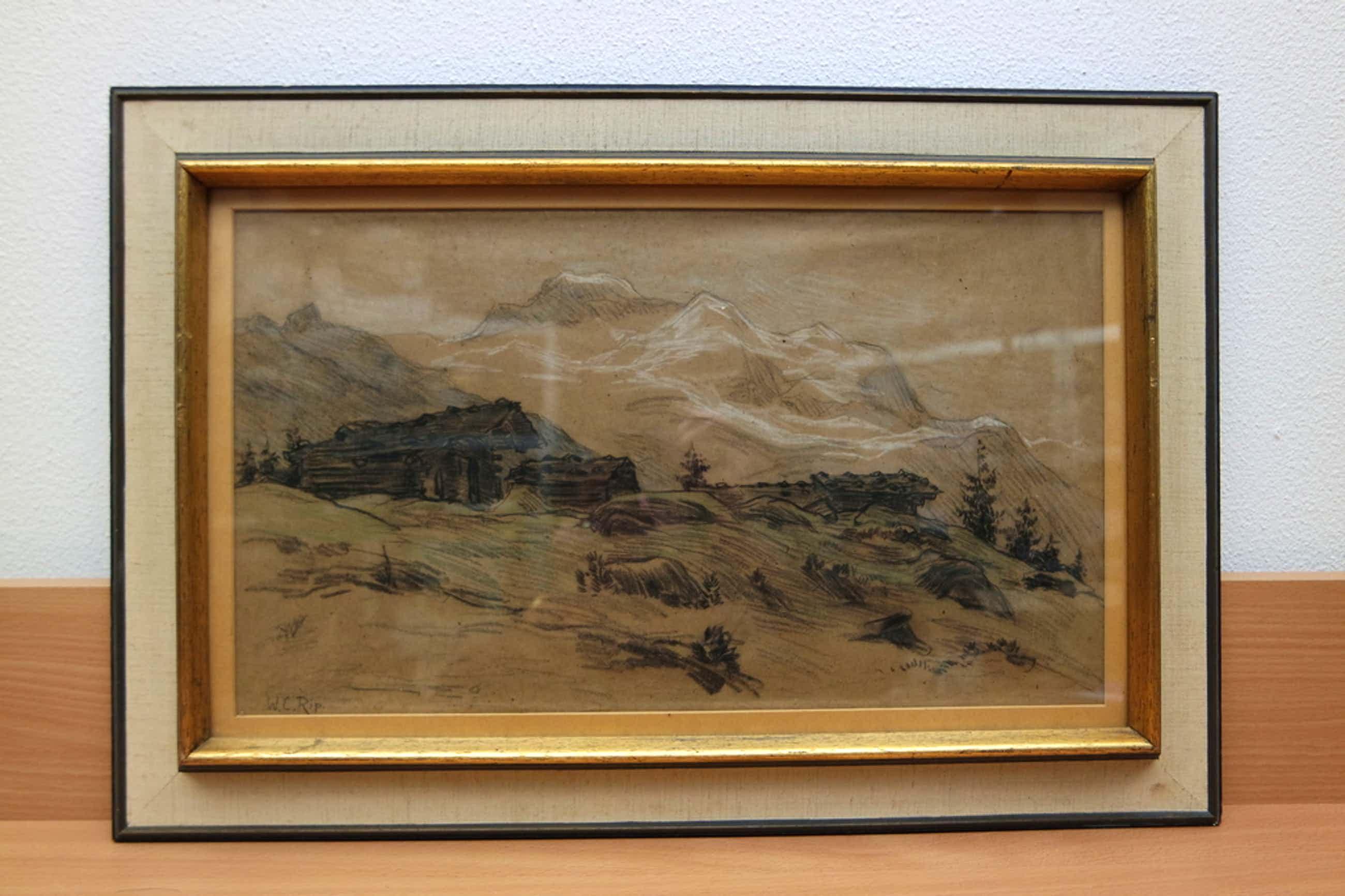 Willem Rip (1856-1922) - krijttekening - alpen kopen? Bied vanaf 85!