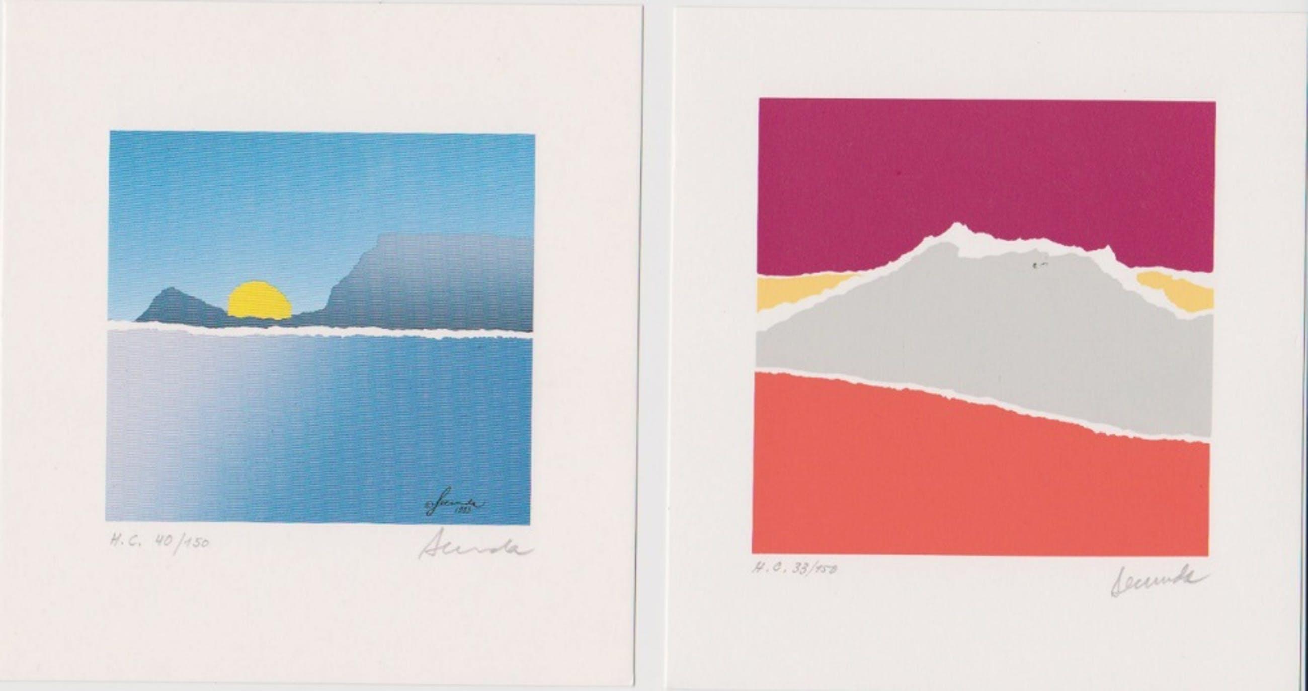 Arthur Secunda - Twee handgesigneerde lithografien: Winter en Herfst kopen? Bied vanaf 25!