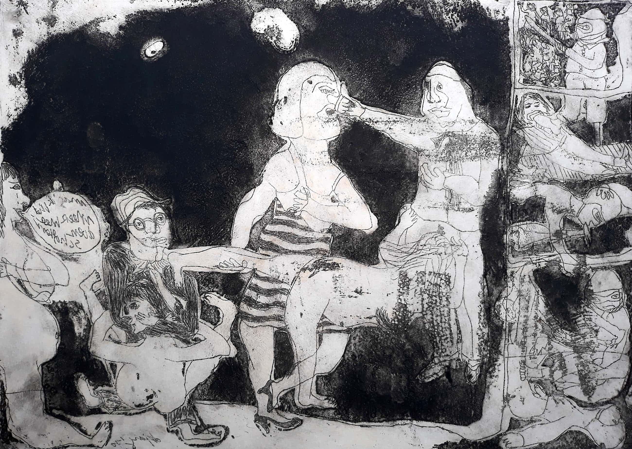 Jacqueline de Jong - Compositie met figuren, aquatint ets kopen? Bied vanaf 50!
