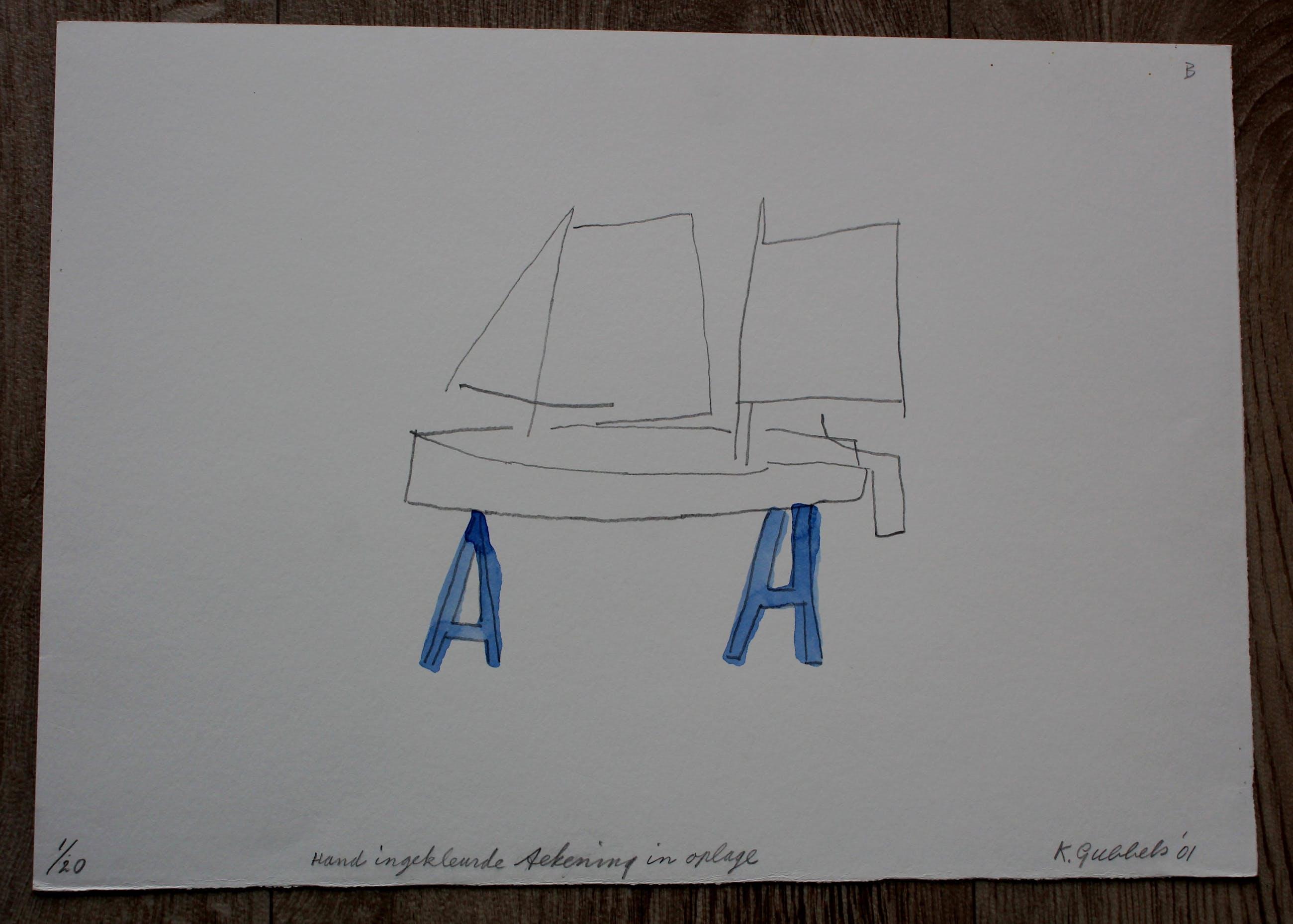 Klaas Gubbels - Hand ingekleurde tekening in oplage- 2001 kopen? Bied vanaf 275!