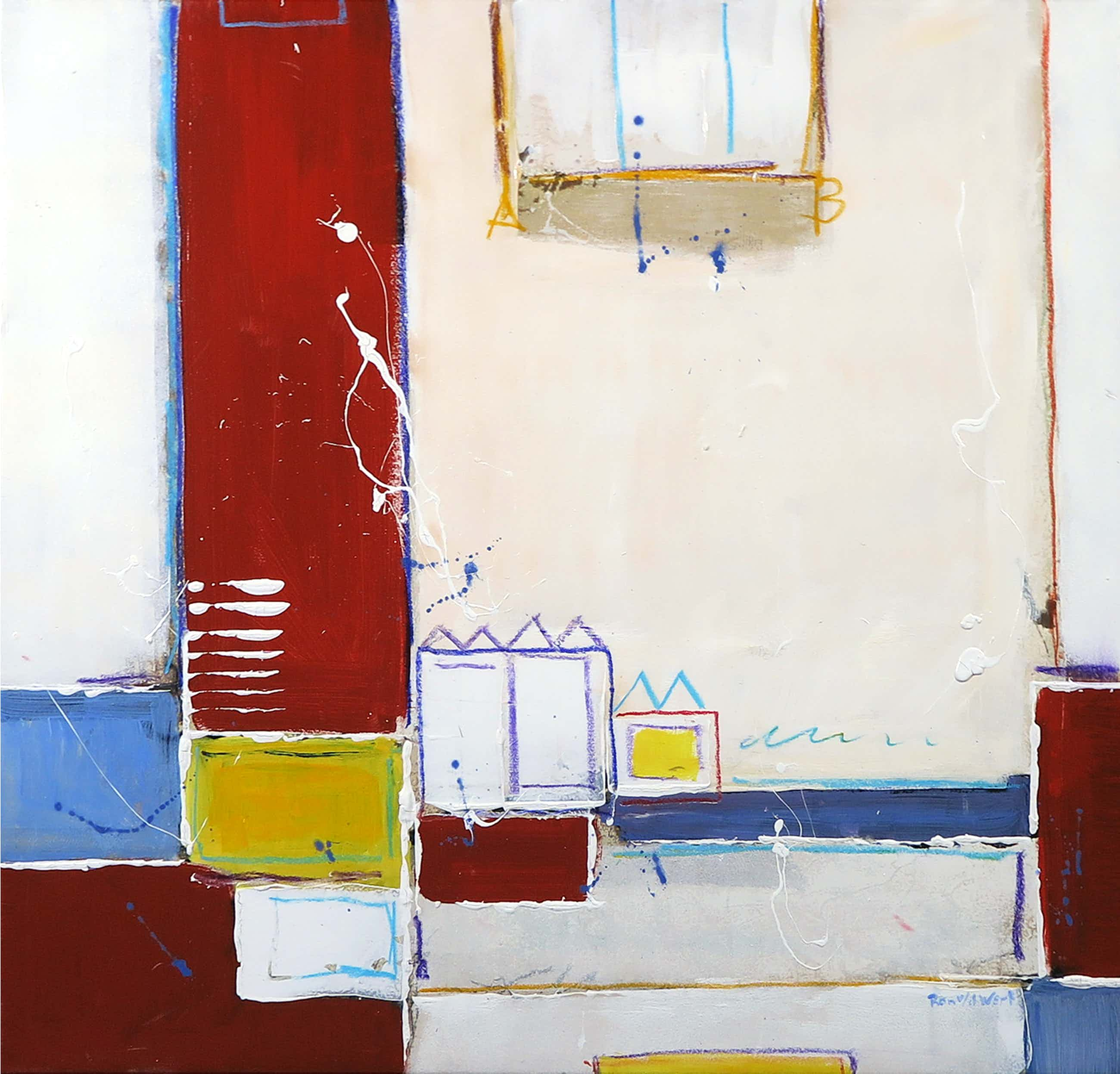 Ron van der Werf - Handbewerkte zeefdruk gelijmd op kunststof op doek, City (met ophangsysteem) kopen? Bied vanaf 35!