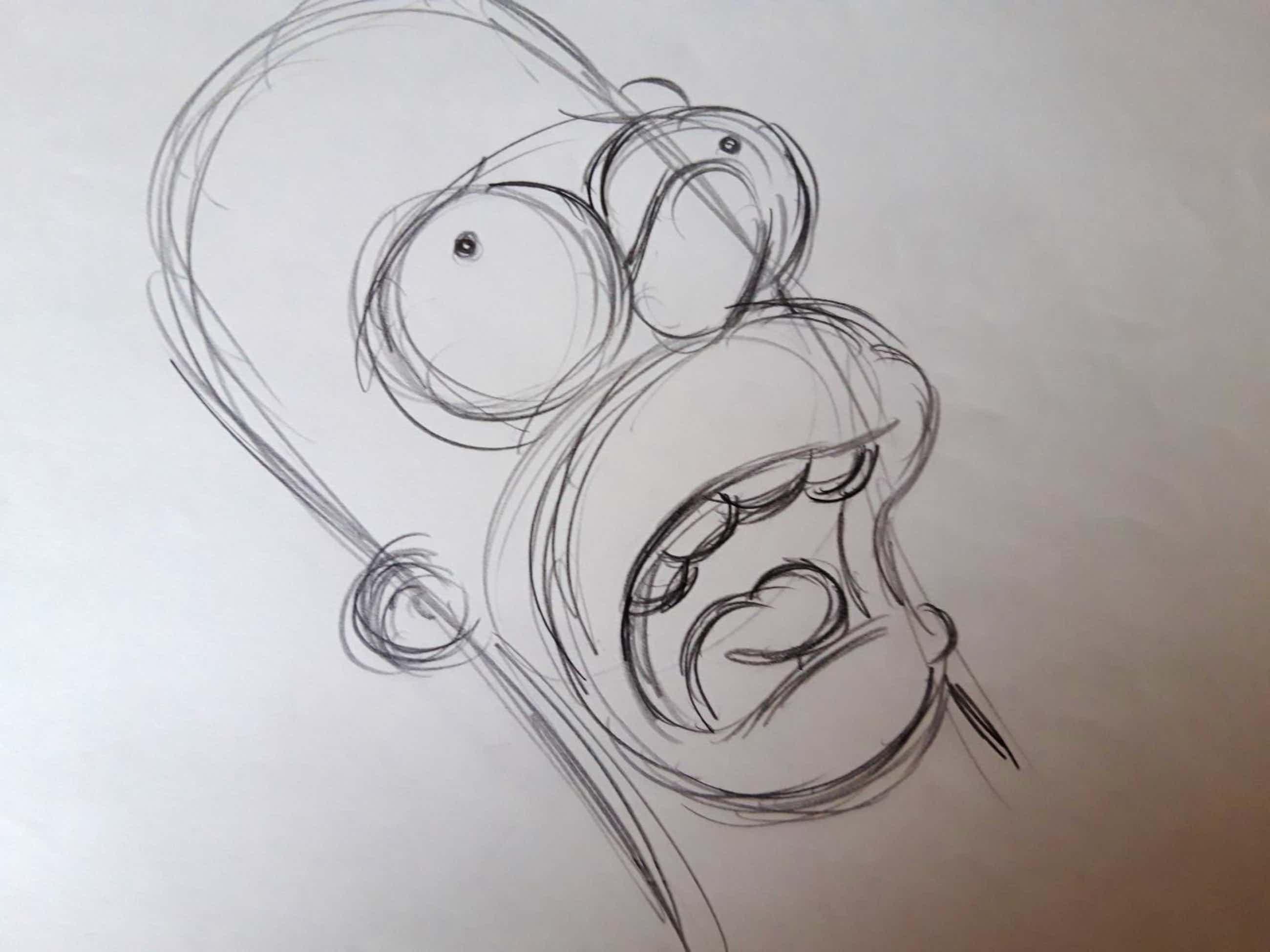 Matt Groening - originele productie tekening, The Simpsons, Homer, ingelijst + certificaat kopen? Bied vanaf 200!