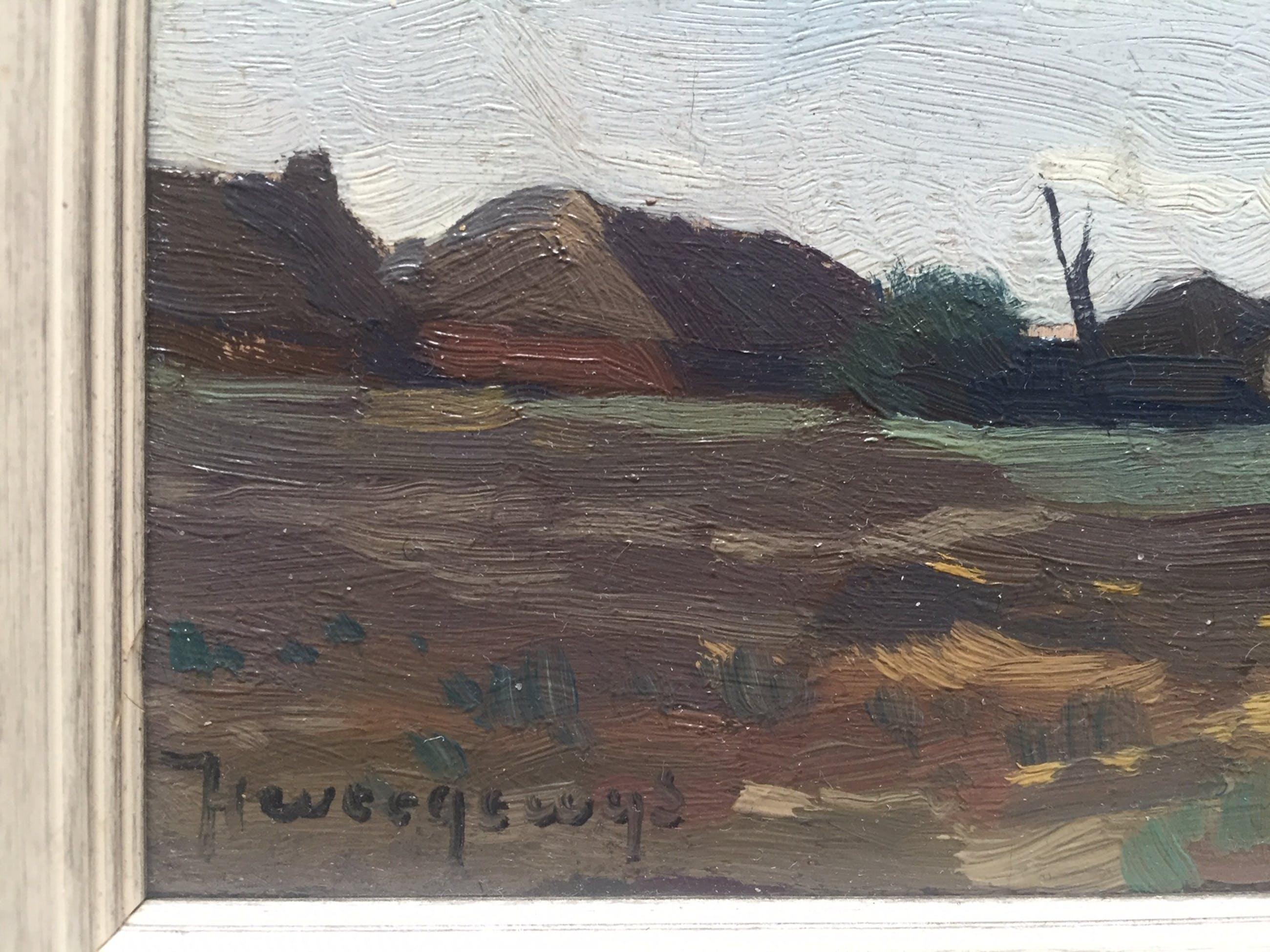 Hendrik Weegewijs - Larense school: gezicht op boerderijen aan de horizon kopen? Bied vanaf 120!