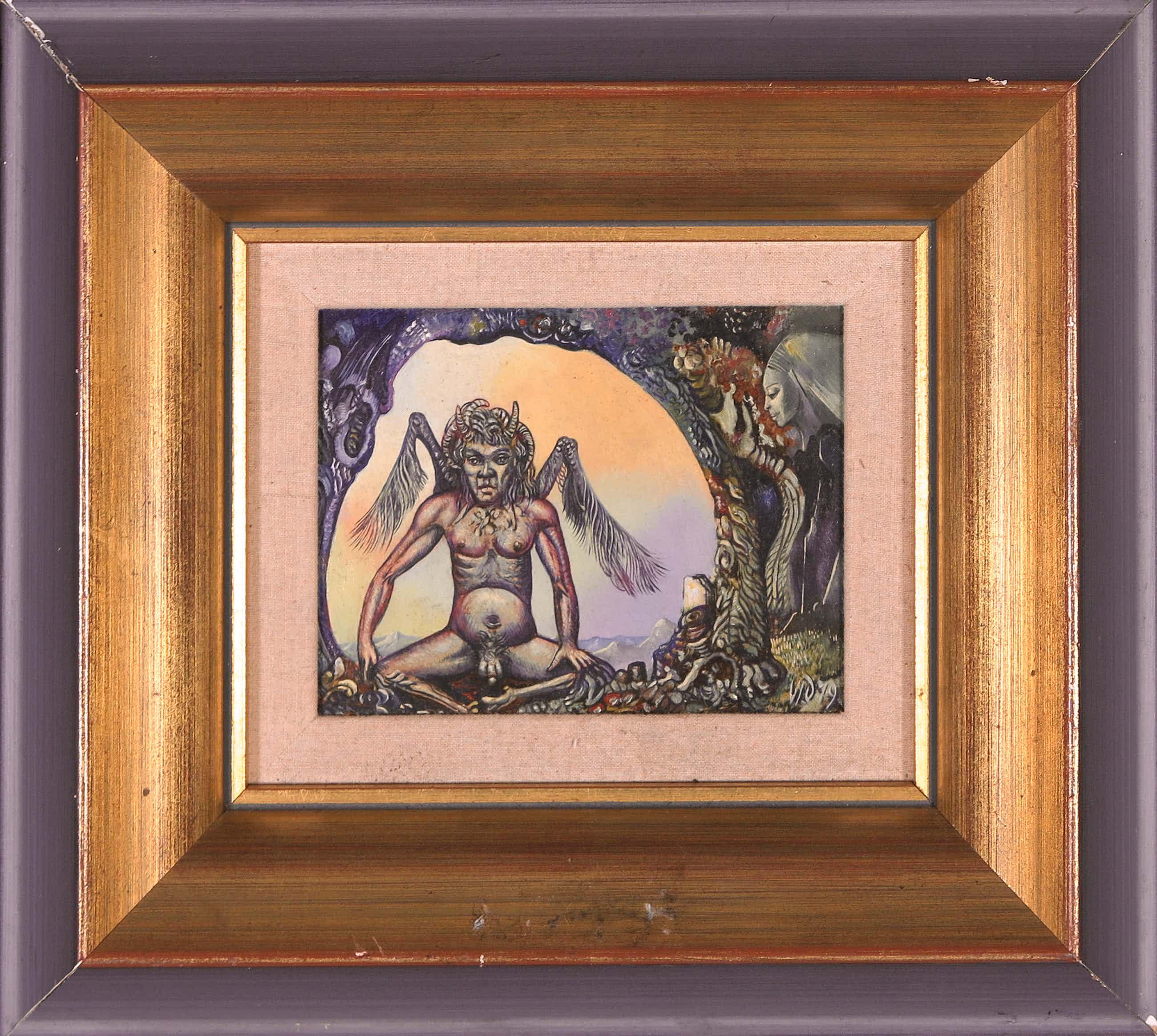 Victor Linford - Olieverf op paneel, Devil kopen? Bied vanaf 170!