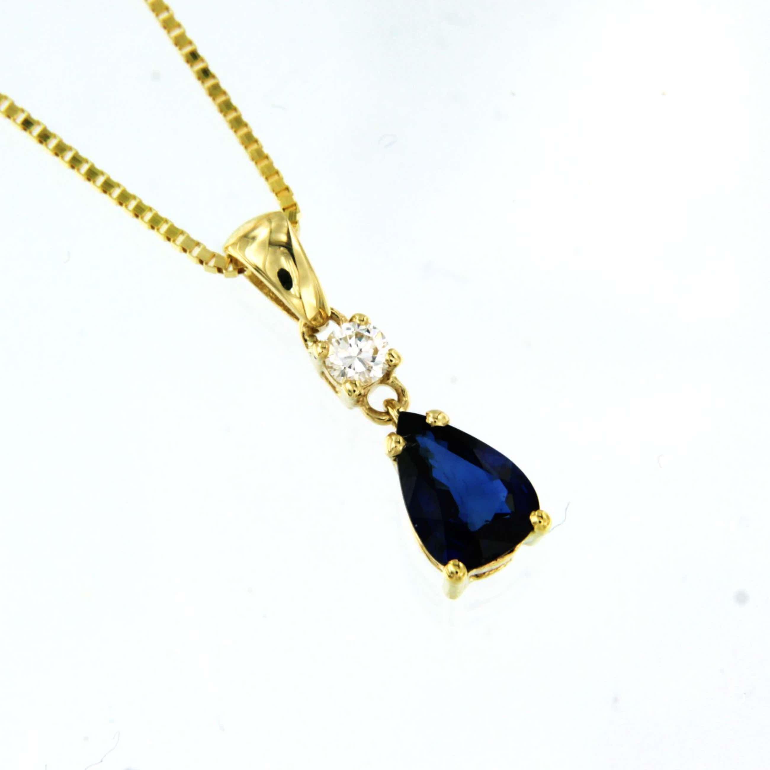 14K Goud - geelgouden collier met saffier en diamant kopen? Bied vanaf 205!
