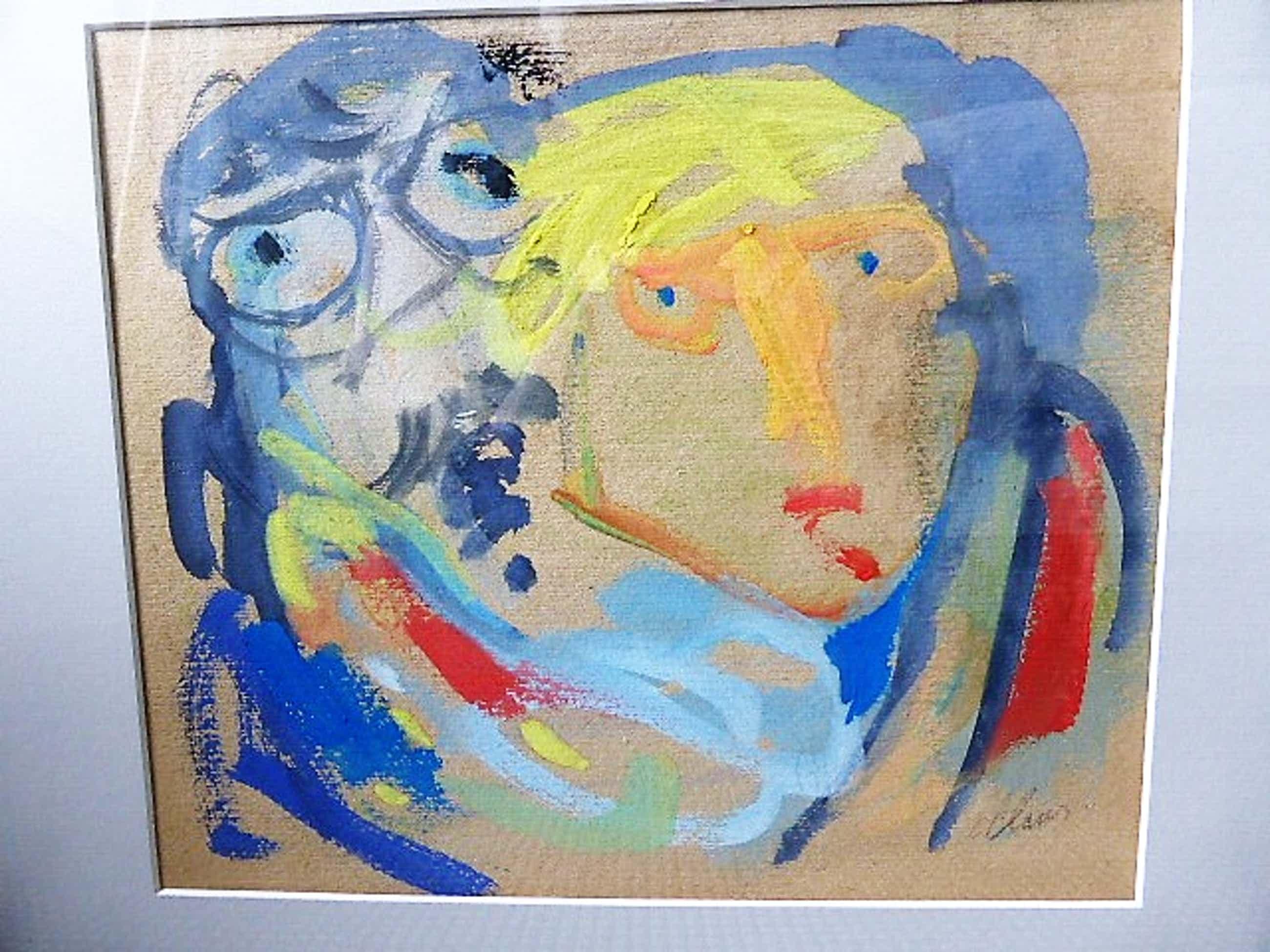 Hugo Claus - vroege gouache hand gesigneerd en verso getiteld: zelfportret met (Karel) Appel kopen? Bied vanaf 1200!