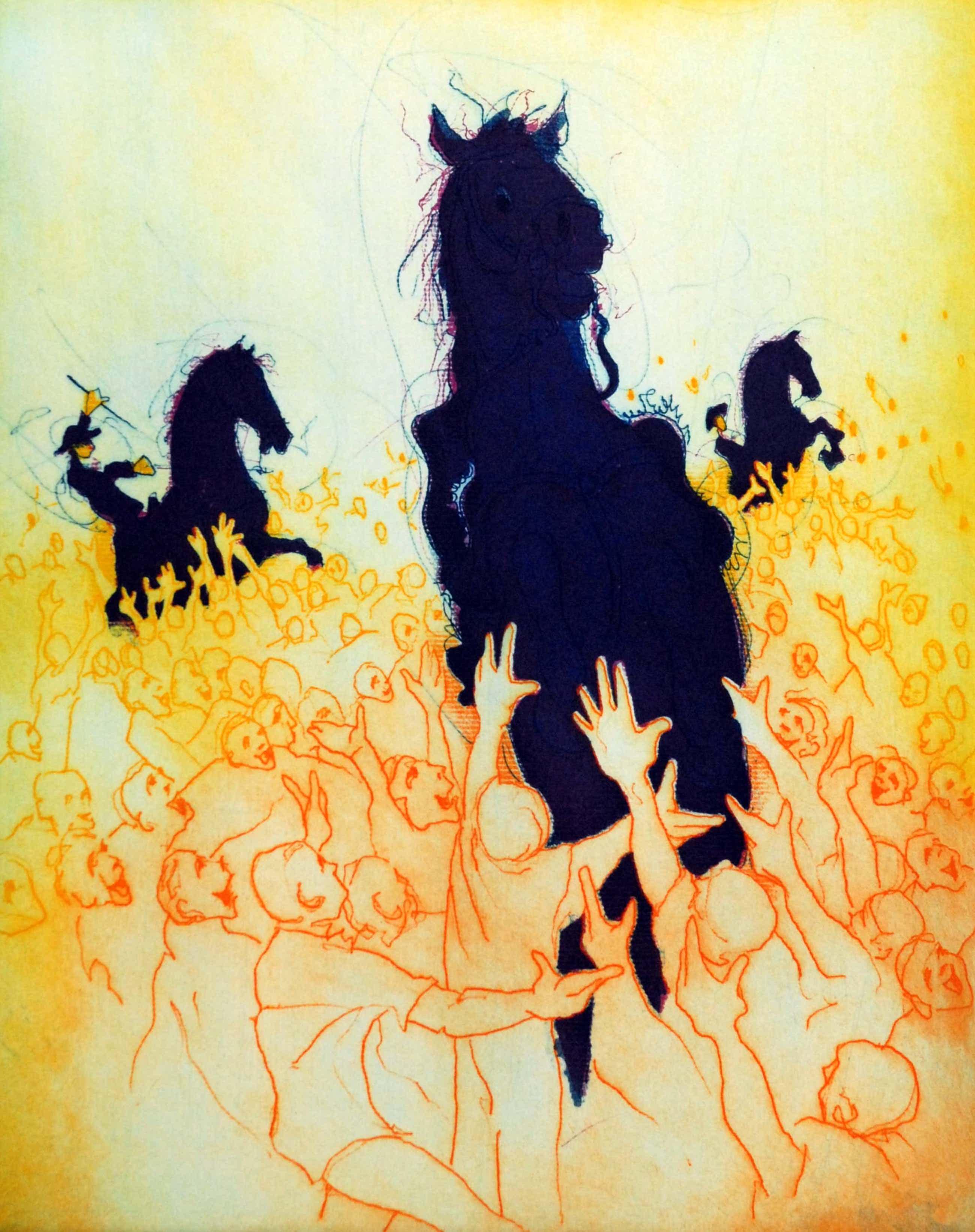 Ronald Tolman - kleurenets, 'Drie paarden in menigte', 2000 (GROOT) kopen? Bied vanaf 175!