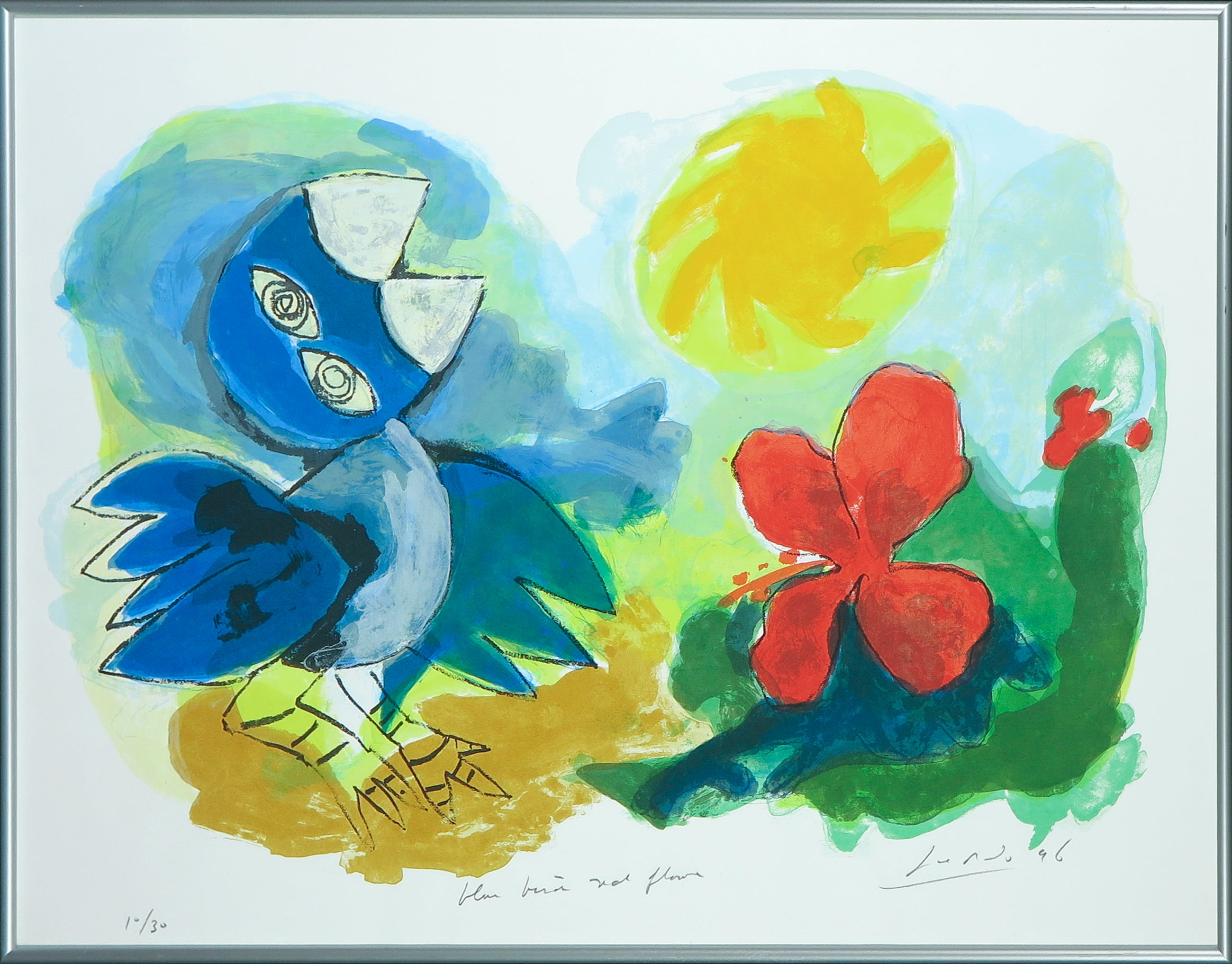 John Lie a Fo - Zeefdruk, Blue bird red flower - Ingelijst kopen? Bied vanaf 35!
