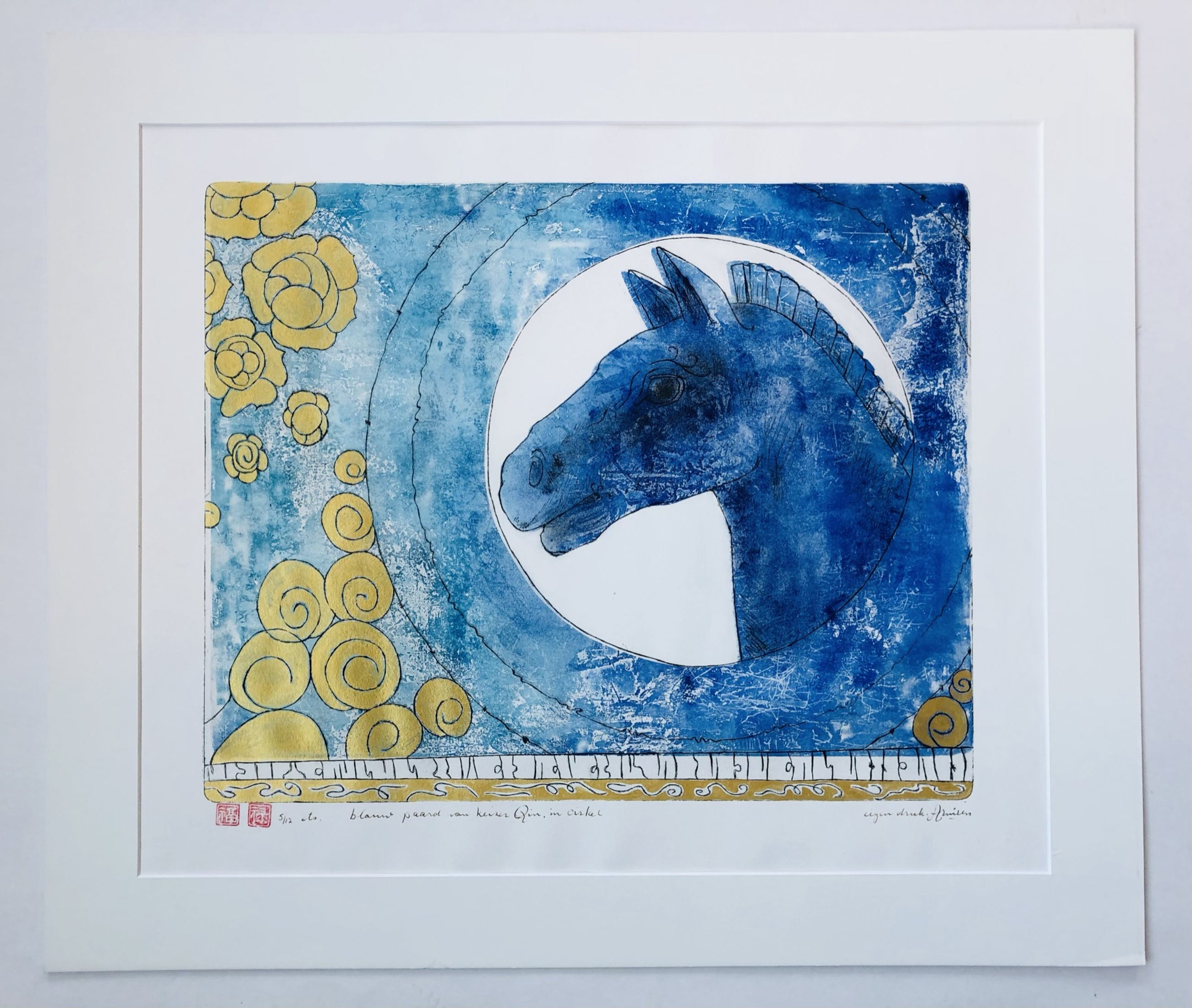 Armien Visser - Blauw paard van keizer Qin, in cirkel kopen? Bied vanaf 75!