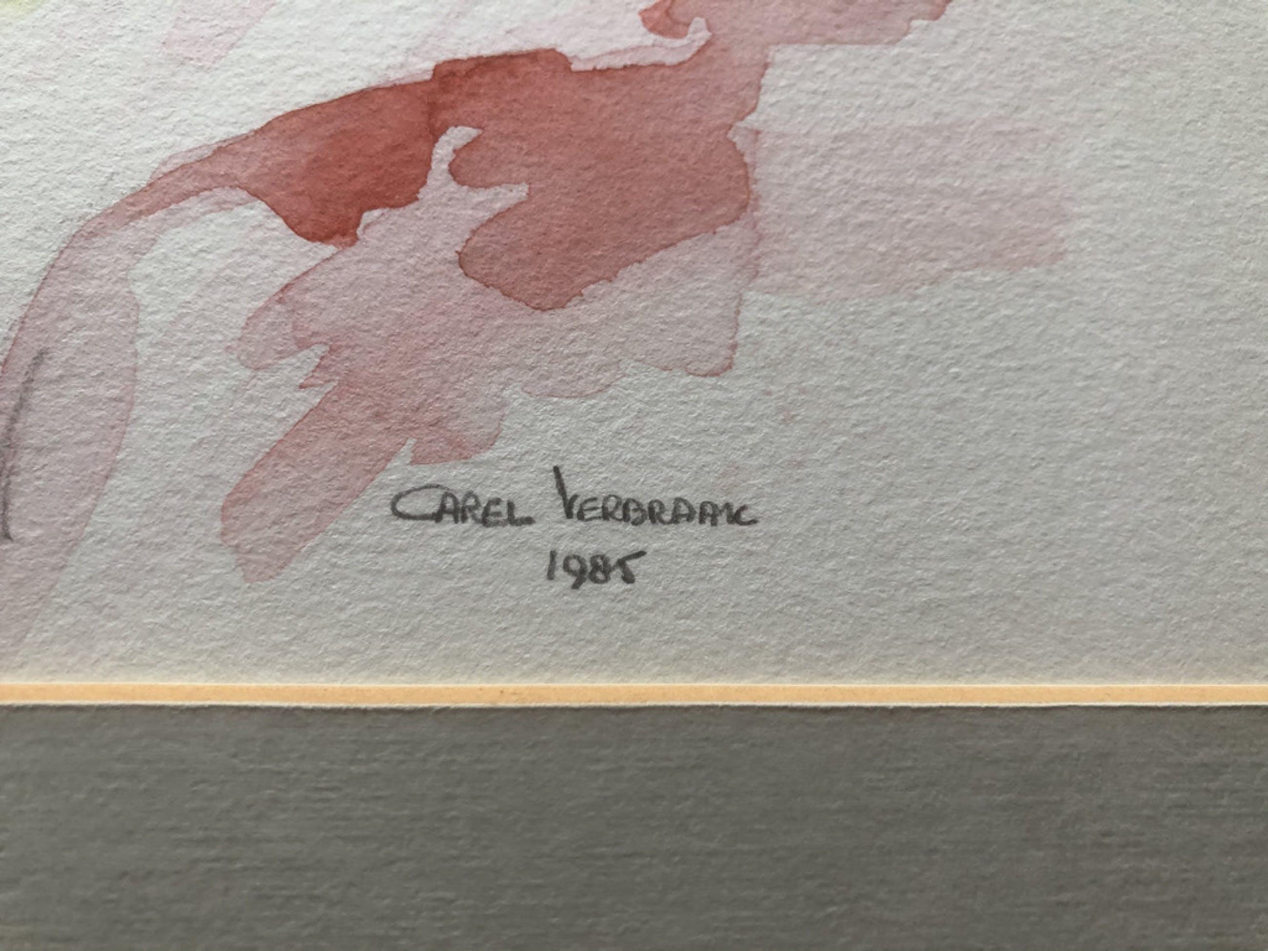 """Carel Verbraak - 2 Schitterende gesigneerde aquarellen in passe-partout van """" CLOWN """" kopen? Bied vanaf 45!"""