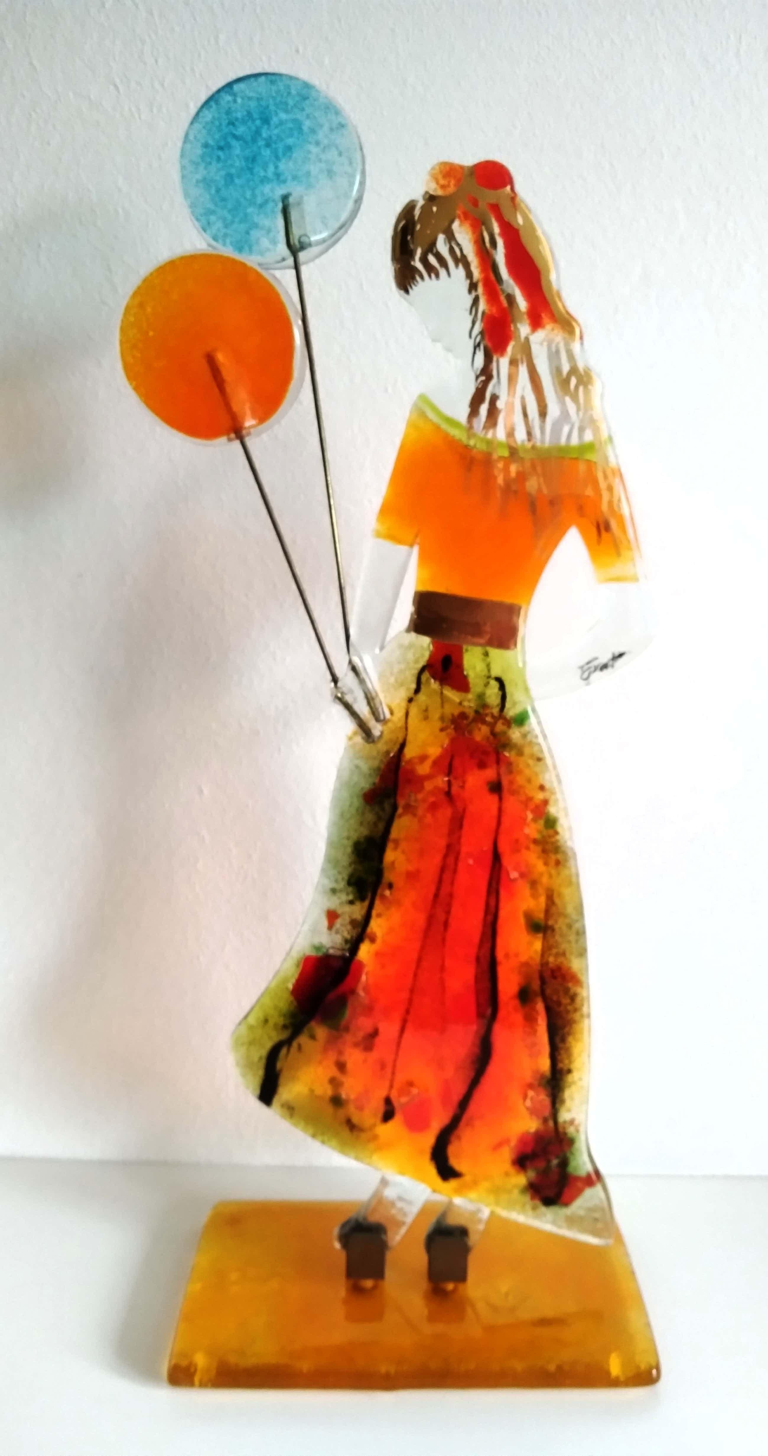 Niet of onleesbaar gesigneerd - kunstenares Efrosini, beeldschone glassculptuur, 46 cm hoog kopen? Bied vanaf 290!