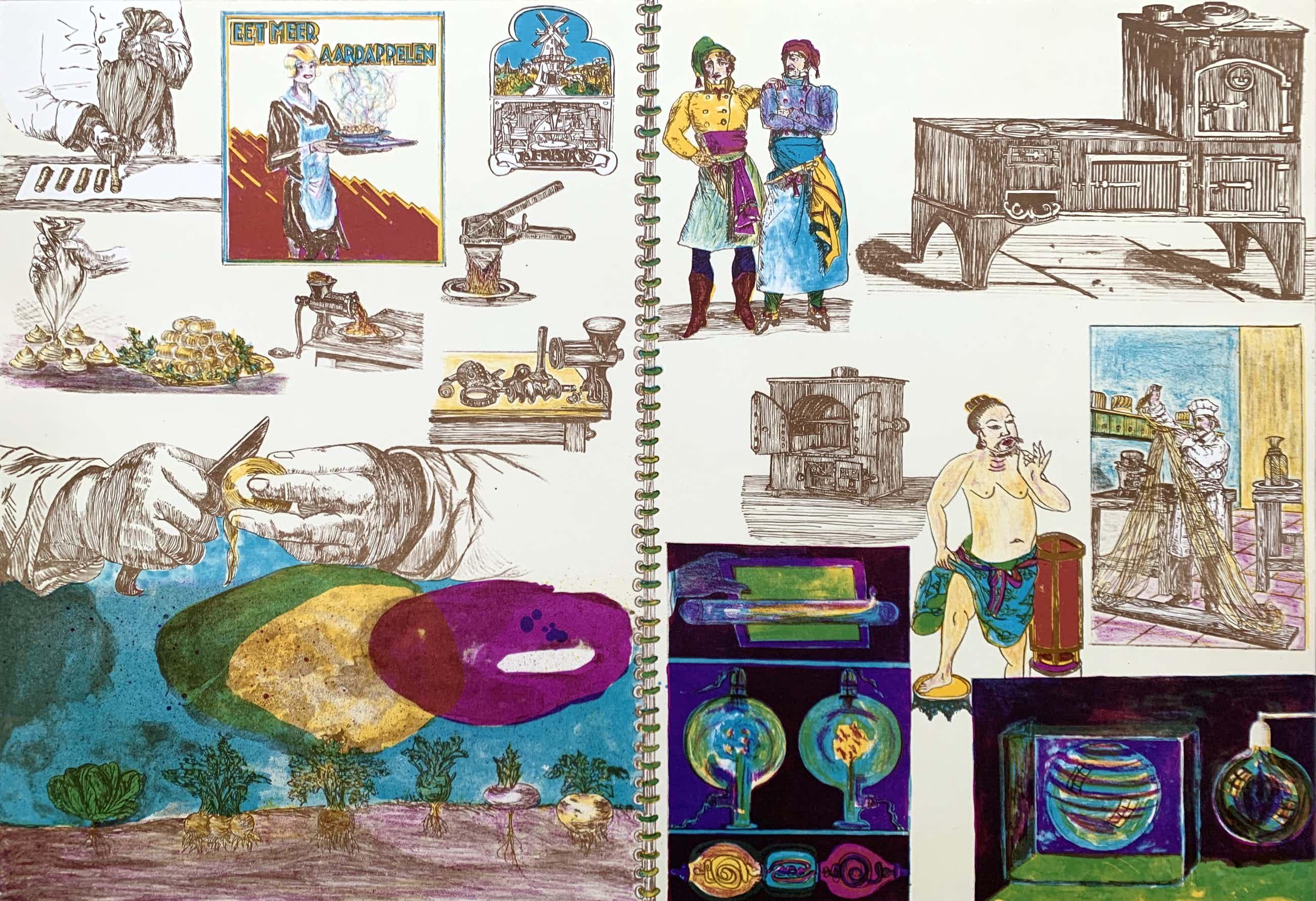 Jacqueline de Jong - kleurenlitho - 'Eet meer aardappelen' - 1975 (Prent 190) Serie 10A kopen? Bied vanaf 75!