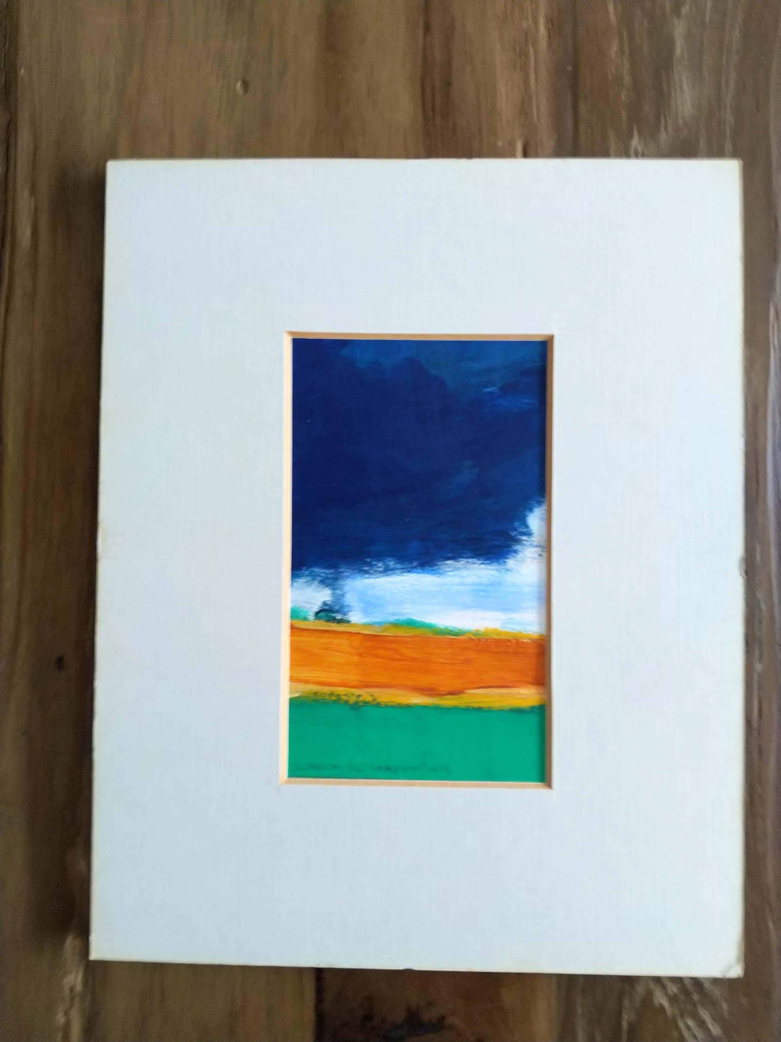 """Jeroen de Carpentier - Fraai verstild expressionistische Gouache """"Regenwolken boven akkerland"""" gesignd kopen? Bied vanaf 40!"""