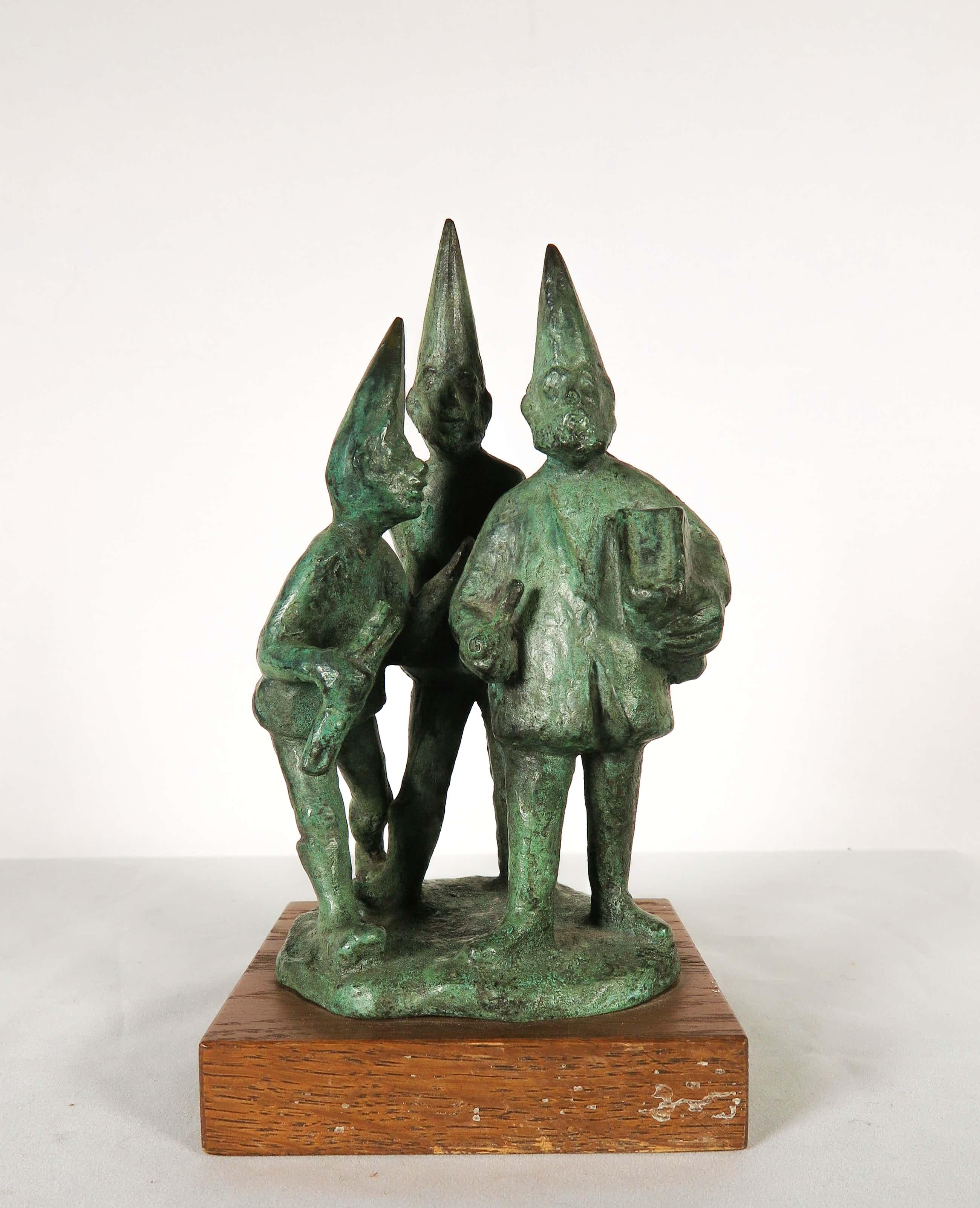Niek van Leest - Bronzen beeld van een groep kabouters kopen? Bied vanaf 80!