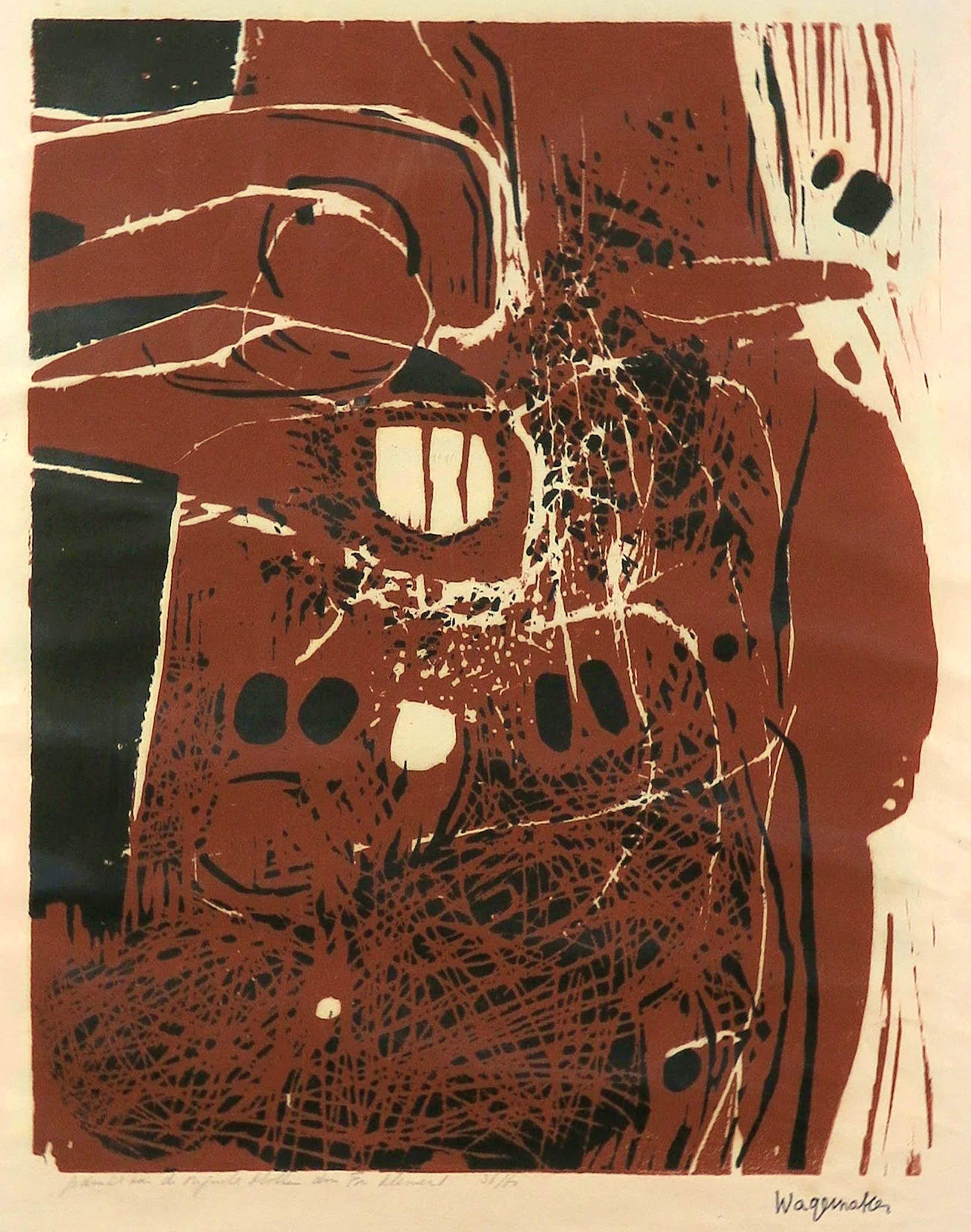 Jaap Wagemaker - Houtsnede op Japans papier, Compositie - Ingelijst kopen? Bied vanaf 80!