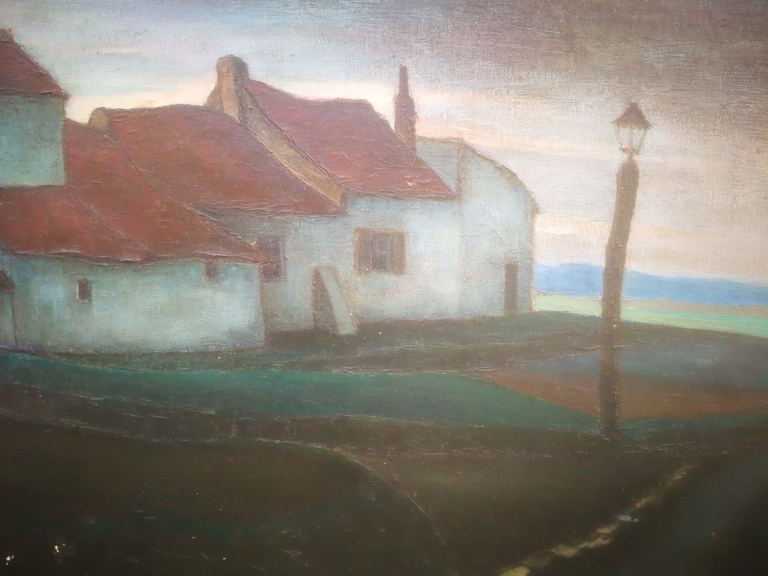 Florimond Bruneau - Dorpsgezicht. Witte huizen kopen? Bied vanaf 99!