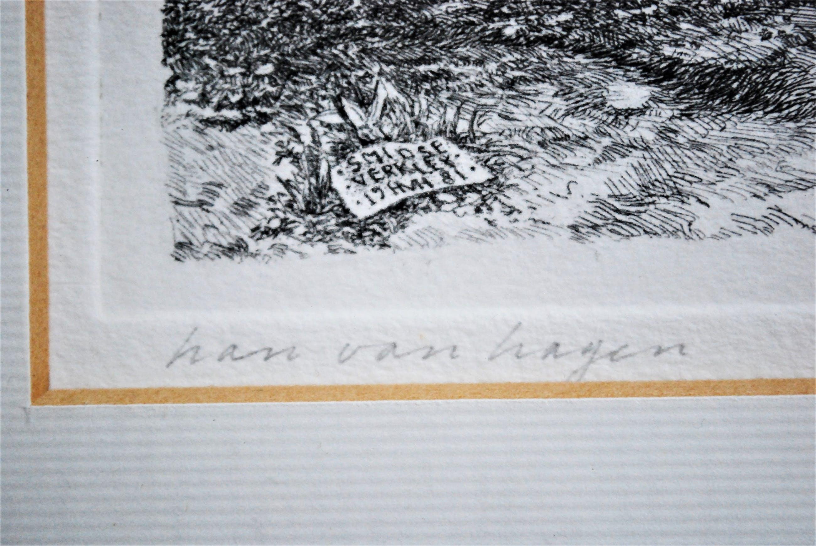 Han van Hagen - Smidse Verkley - ets, in een fraaie lijst kopen? Bied vanaf 45!