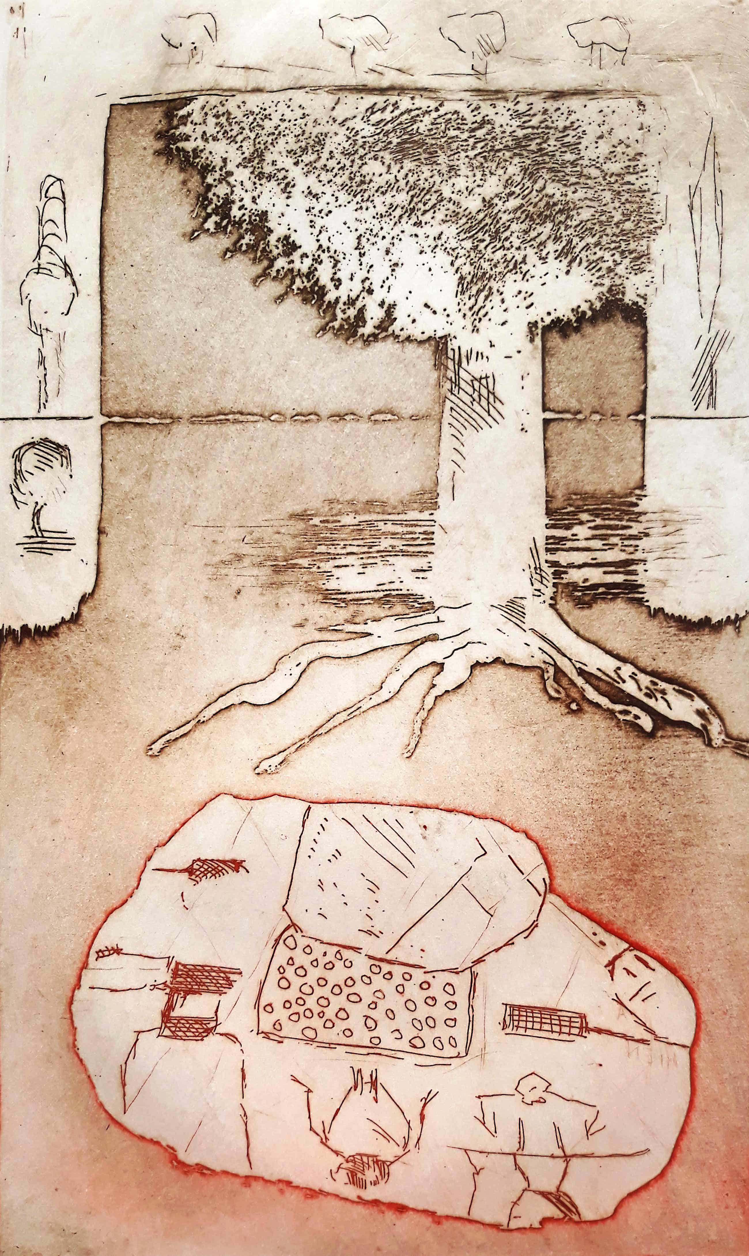 Jan Montyn - Geluksboom, aquatint ets kopen? Bied vanaf 115!