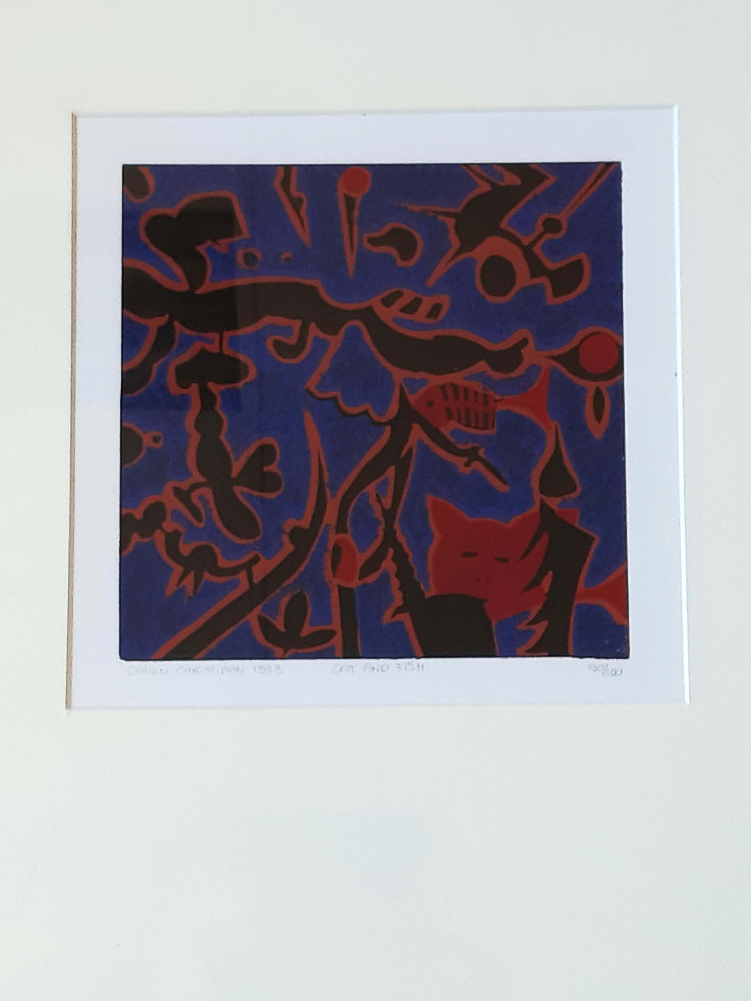 Calvin Christiaan - Cat and Fish - kleurenzeefdruk - handgesigneerd - 90/100 kopen? Bied vanaf 60!